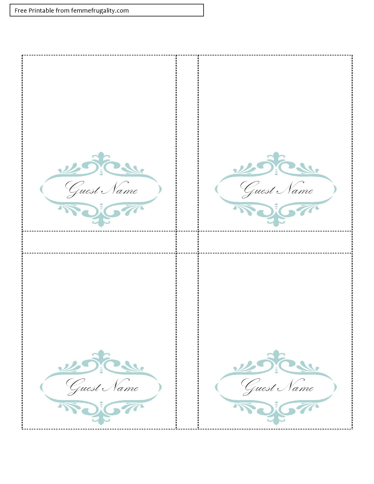 Free place card template 04