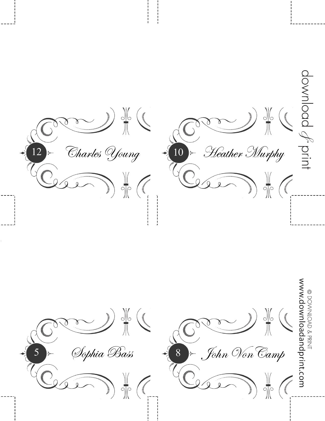 50 Printable Place Card Templates Free Á… Templatelab