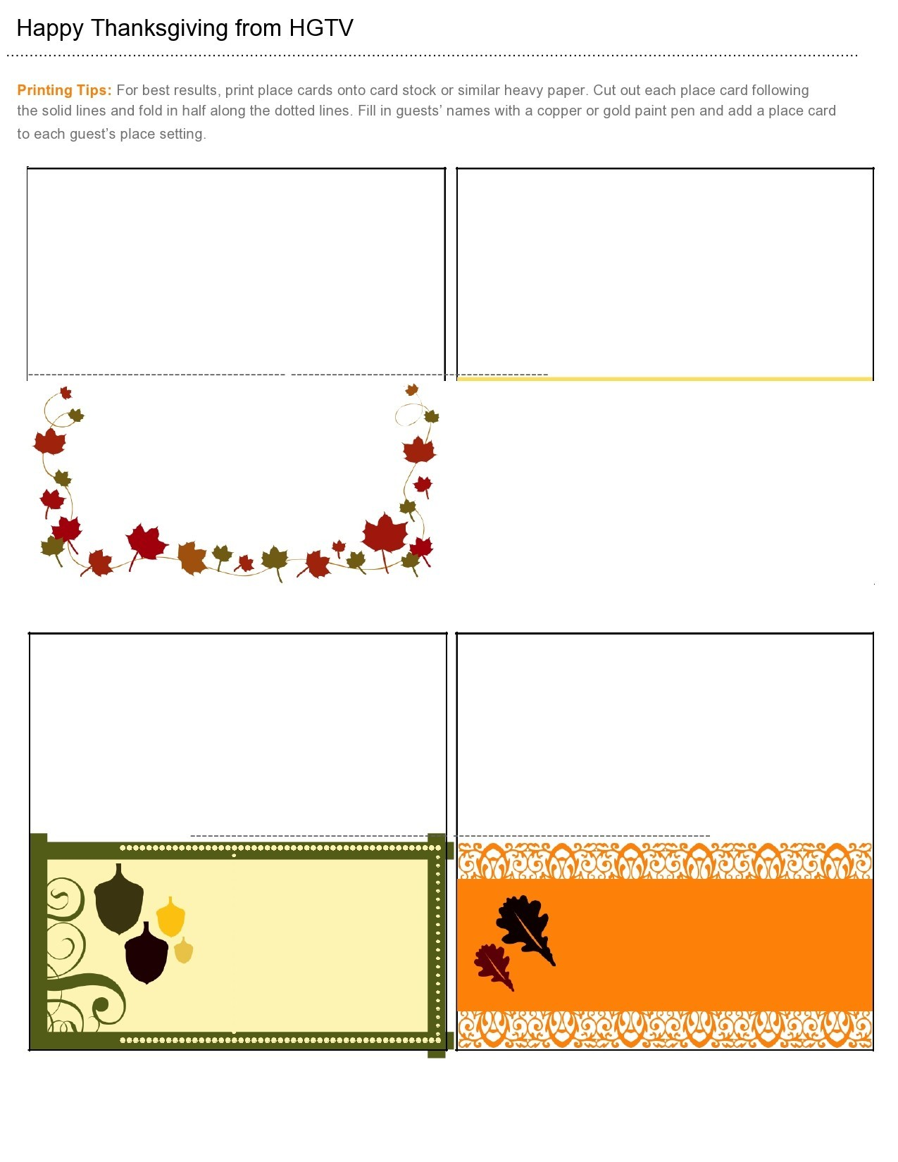 Free place card template 37