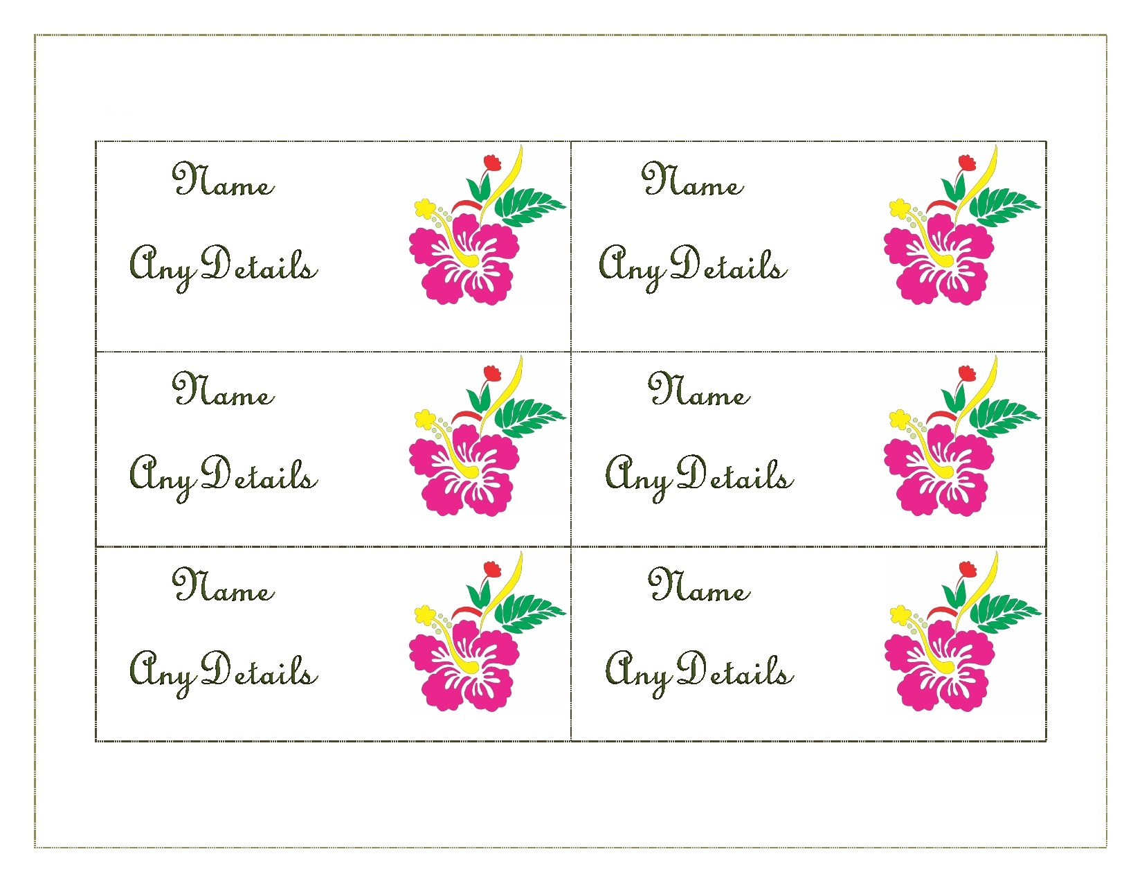 50 Printable Place Card Templates Free Á… Templatelab