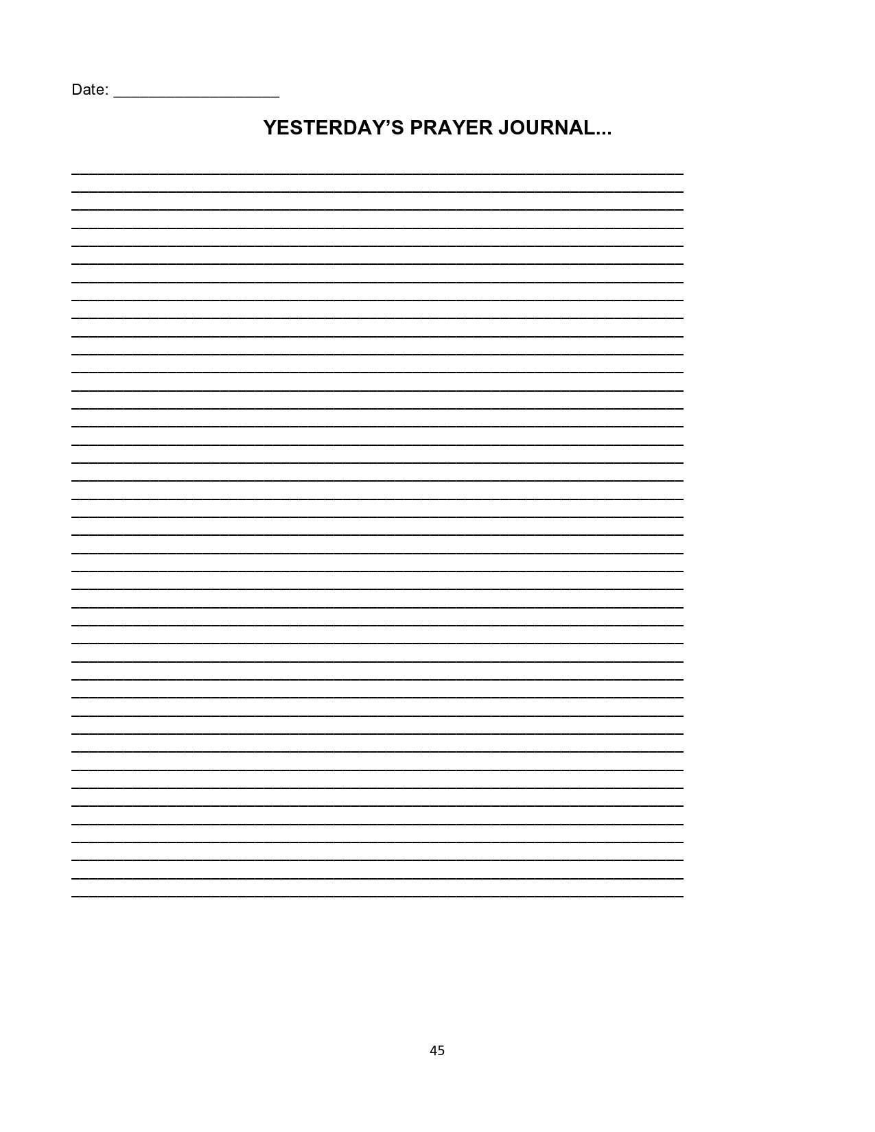 Free prayer journal template 31