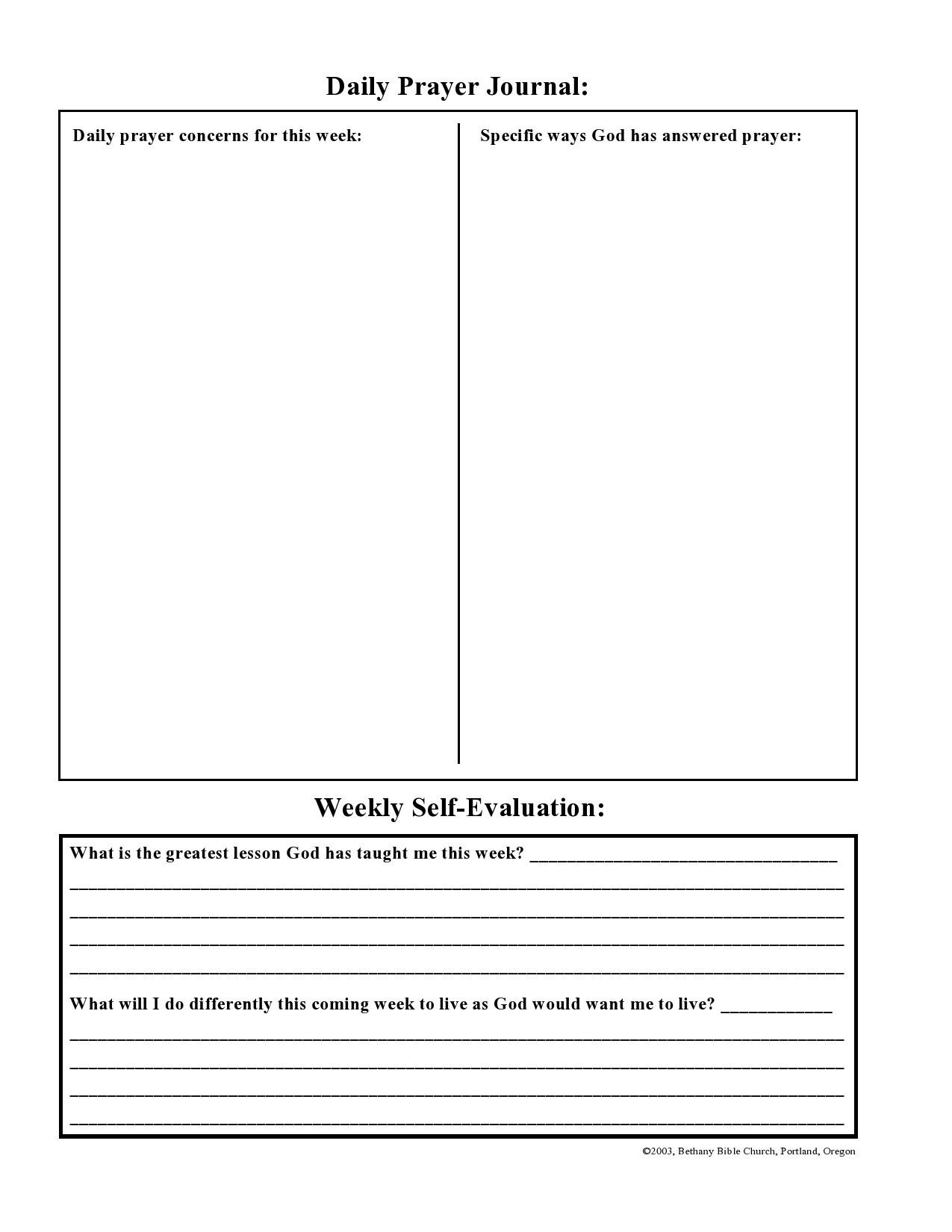 Free prayer journal template 35
