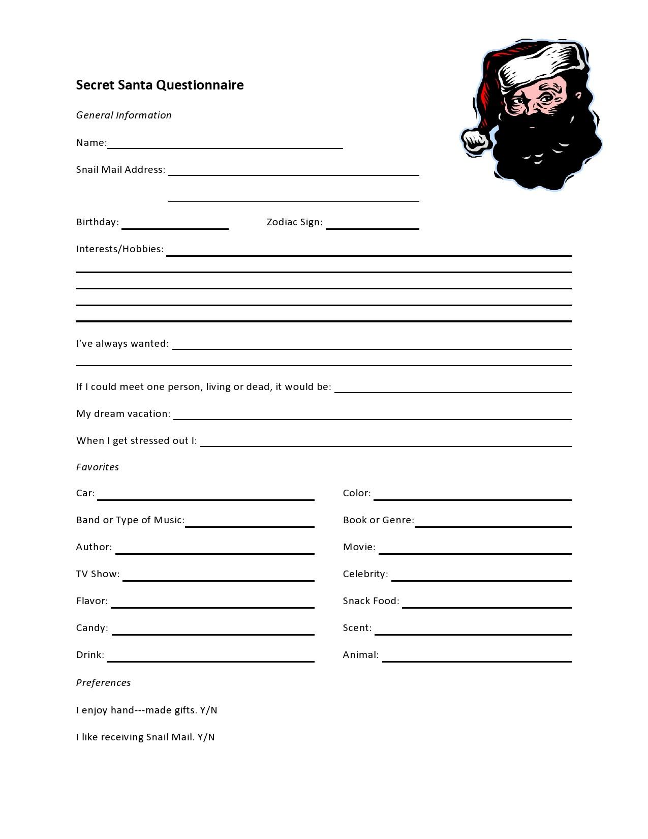 Free secret santa questionnaire 03