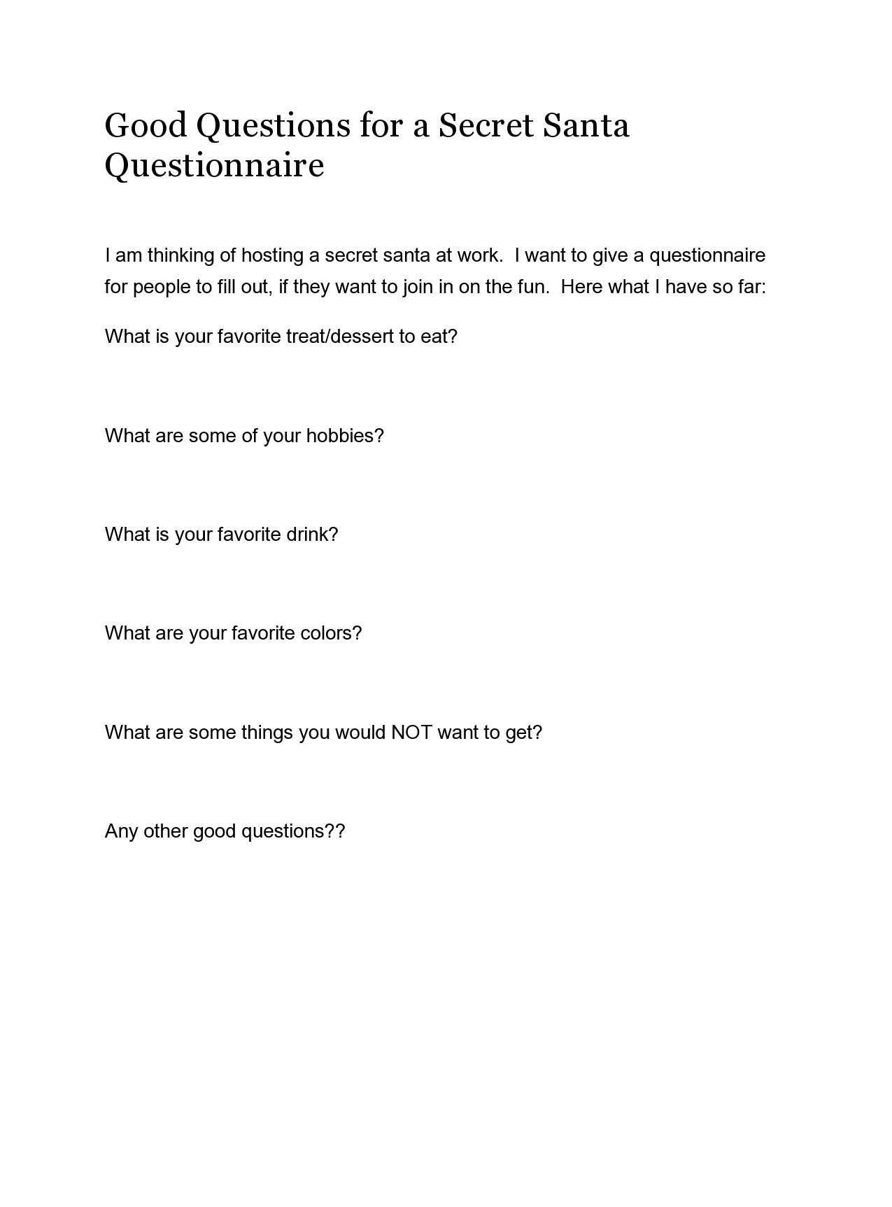 Free secret santa questionnaire 04