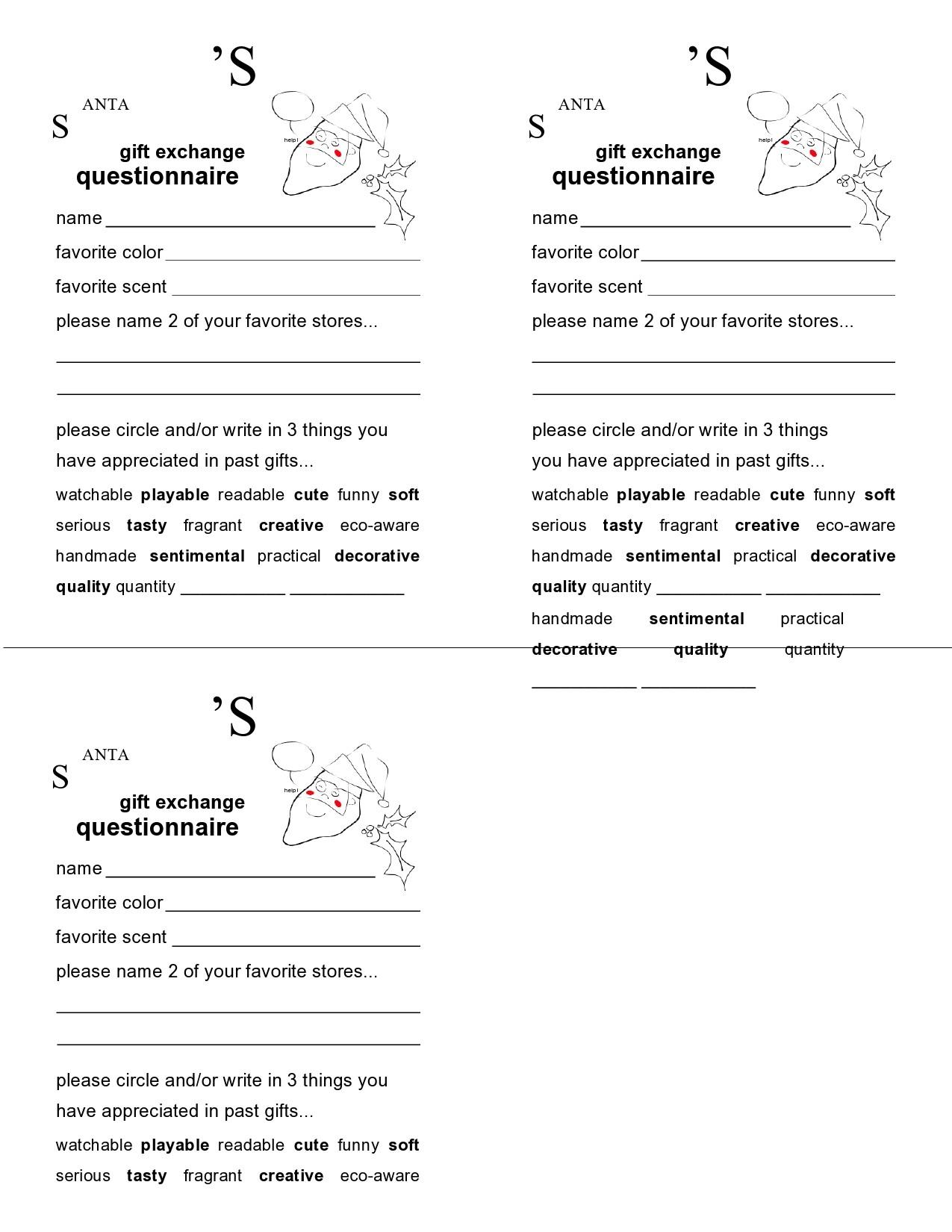 Free secret santa questionnaire 07