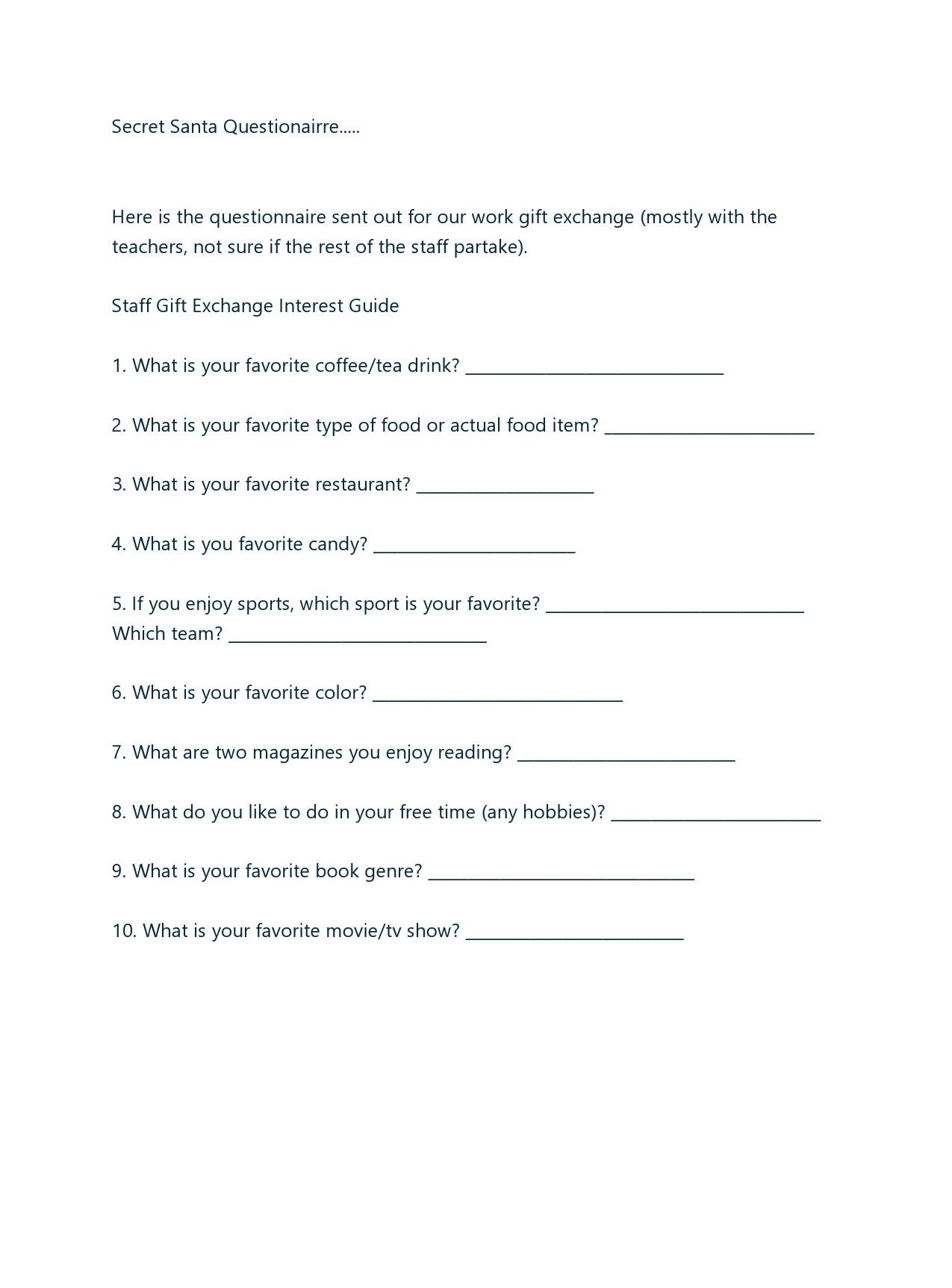 Free secret santa questionnaire 15