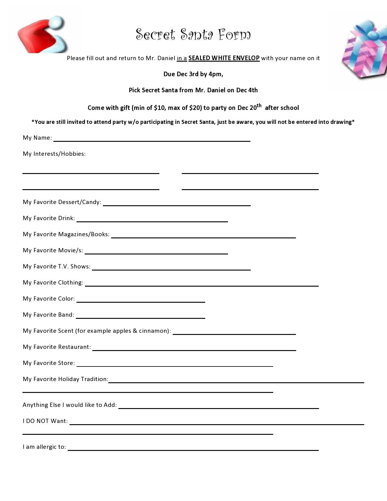 Free secret santa questionnaire 20