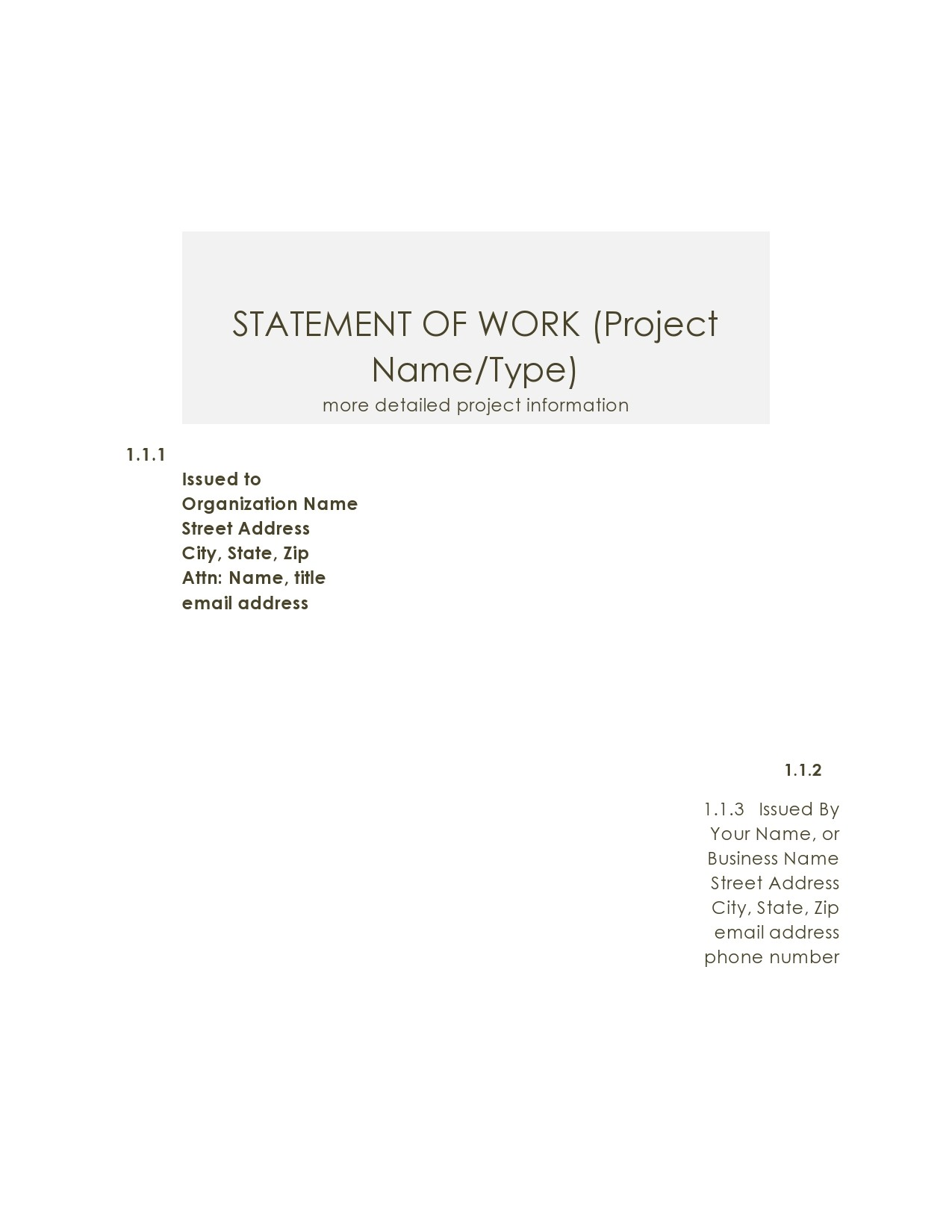 Free statement of work template 09