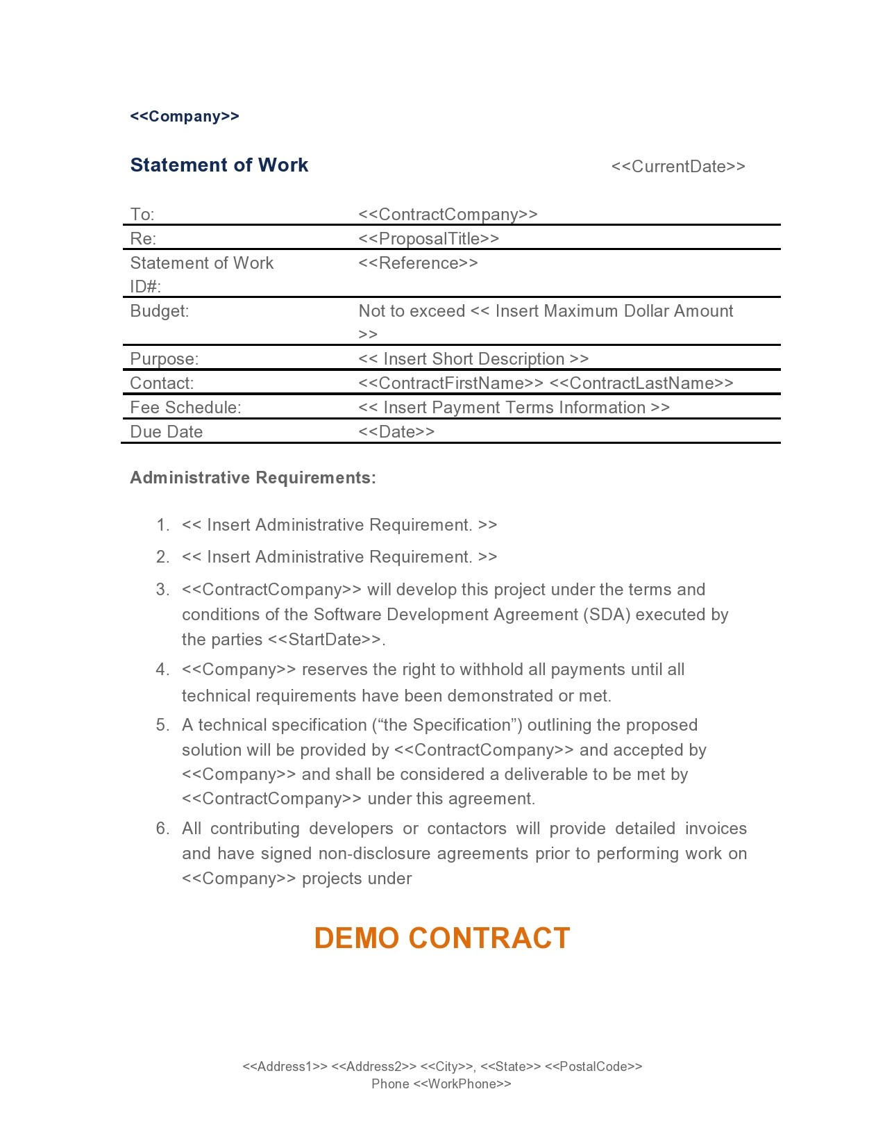 Free statement of work template 12