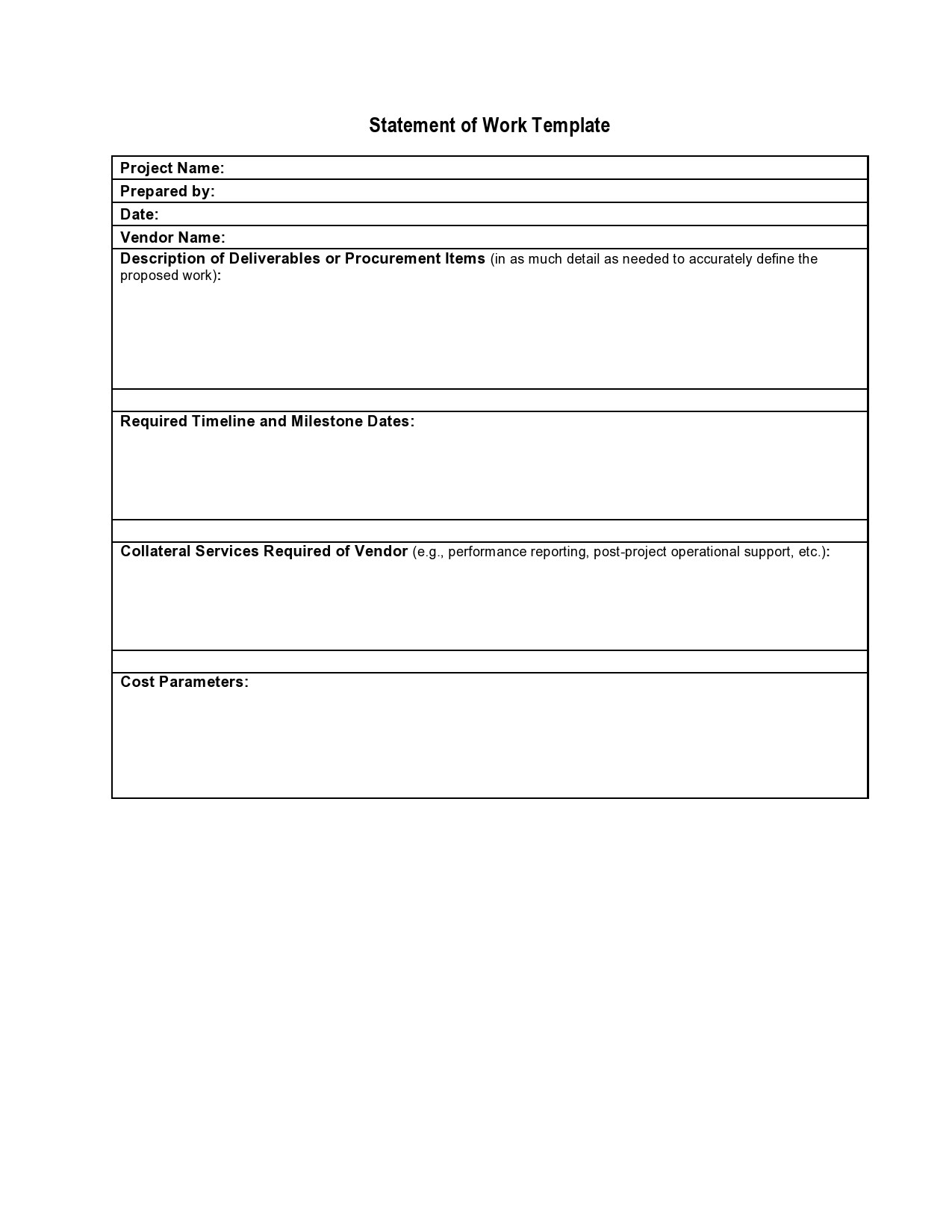 Free statement of work template 13
