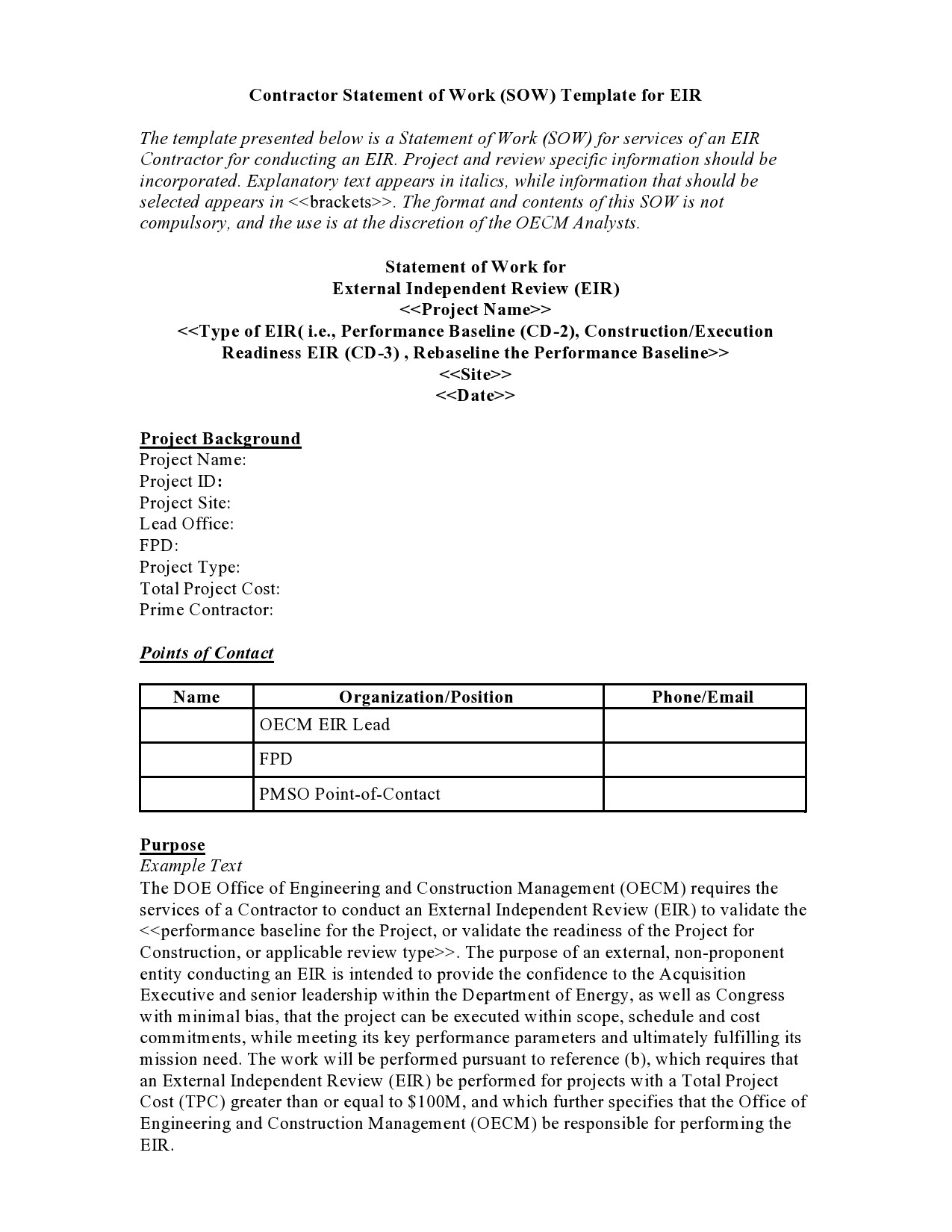 Free statement of work template 20