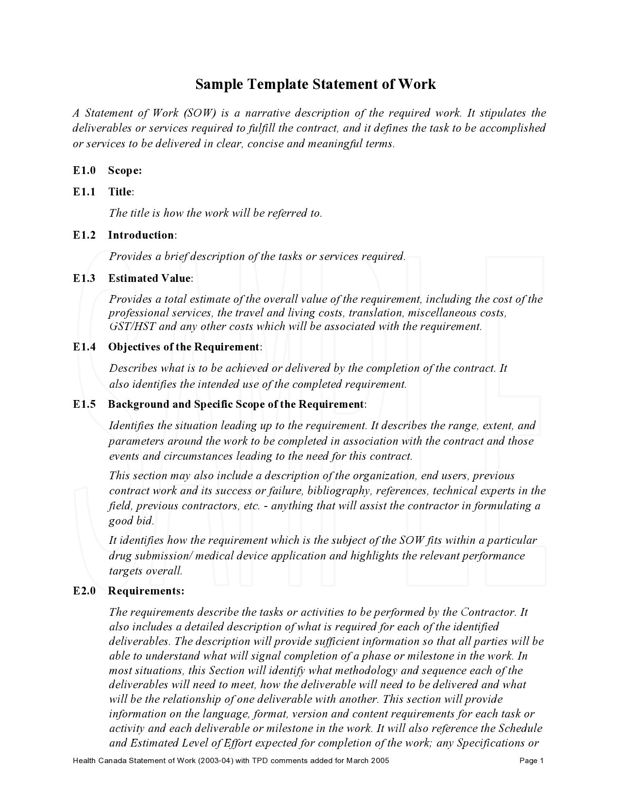 Free statement of work template 25