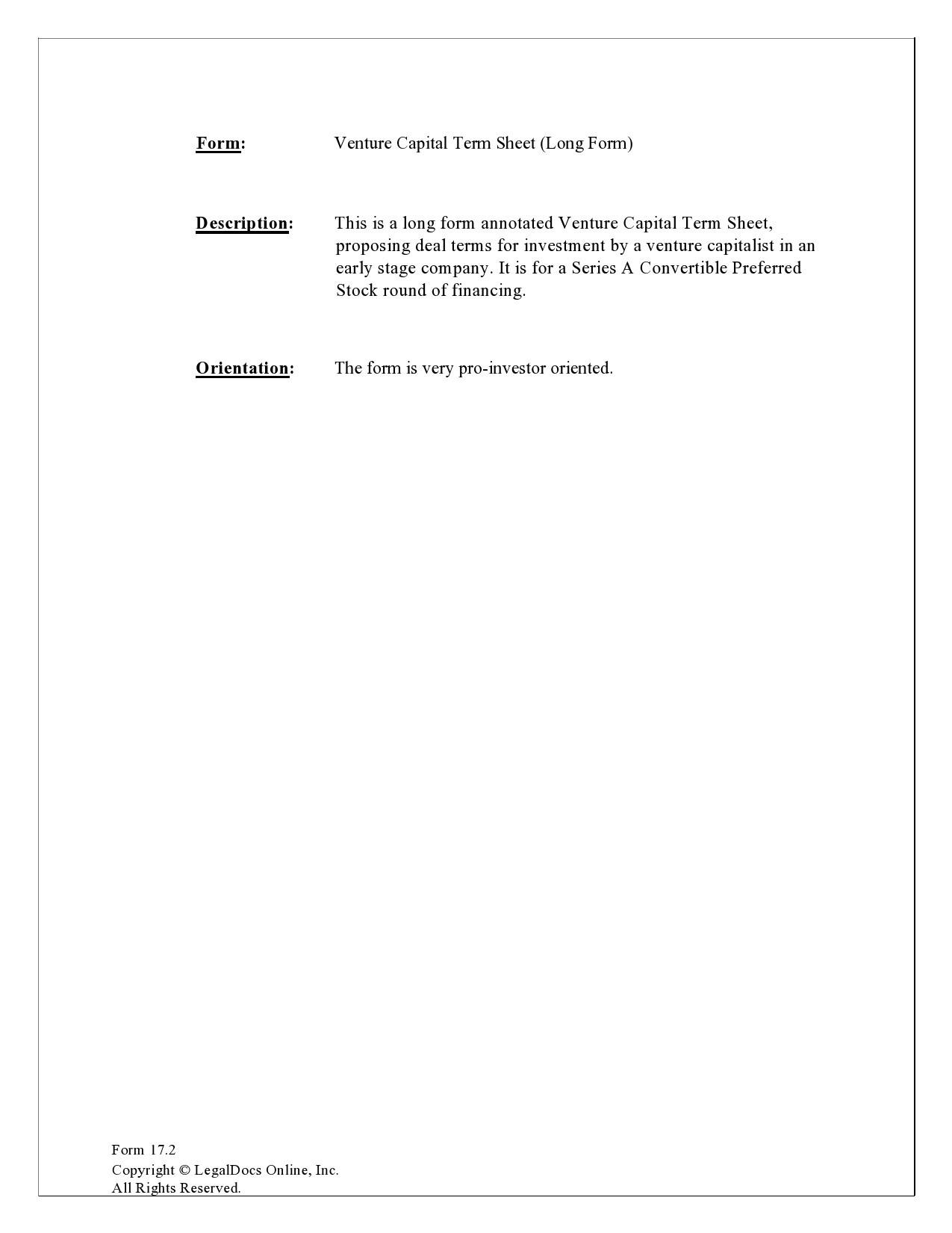 Free term sheet template 21