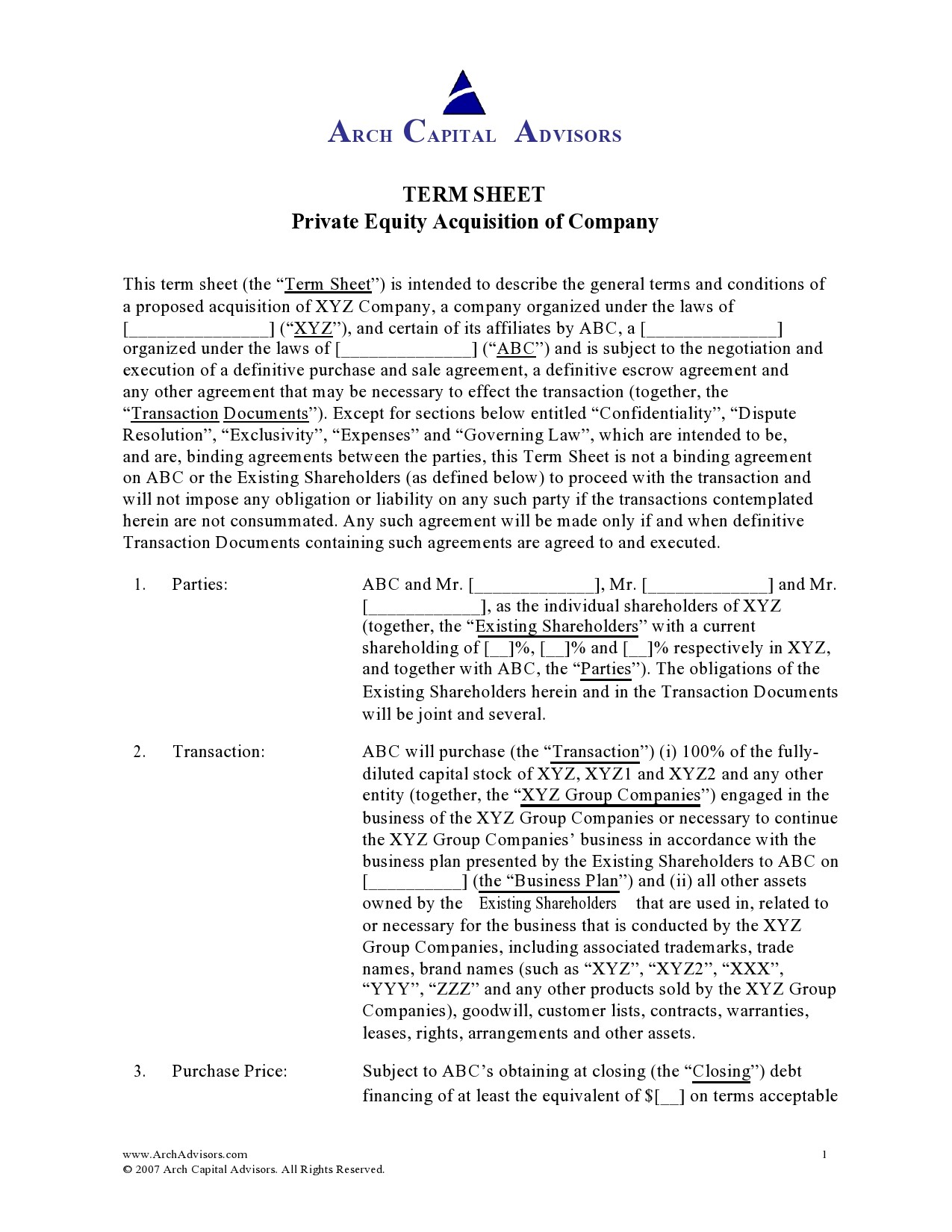 Free term sheet template 22