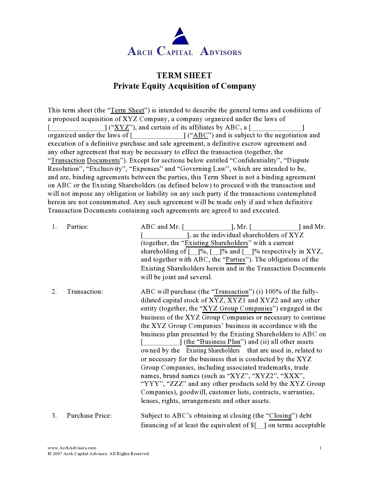 Free term sheet template 38