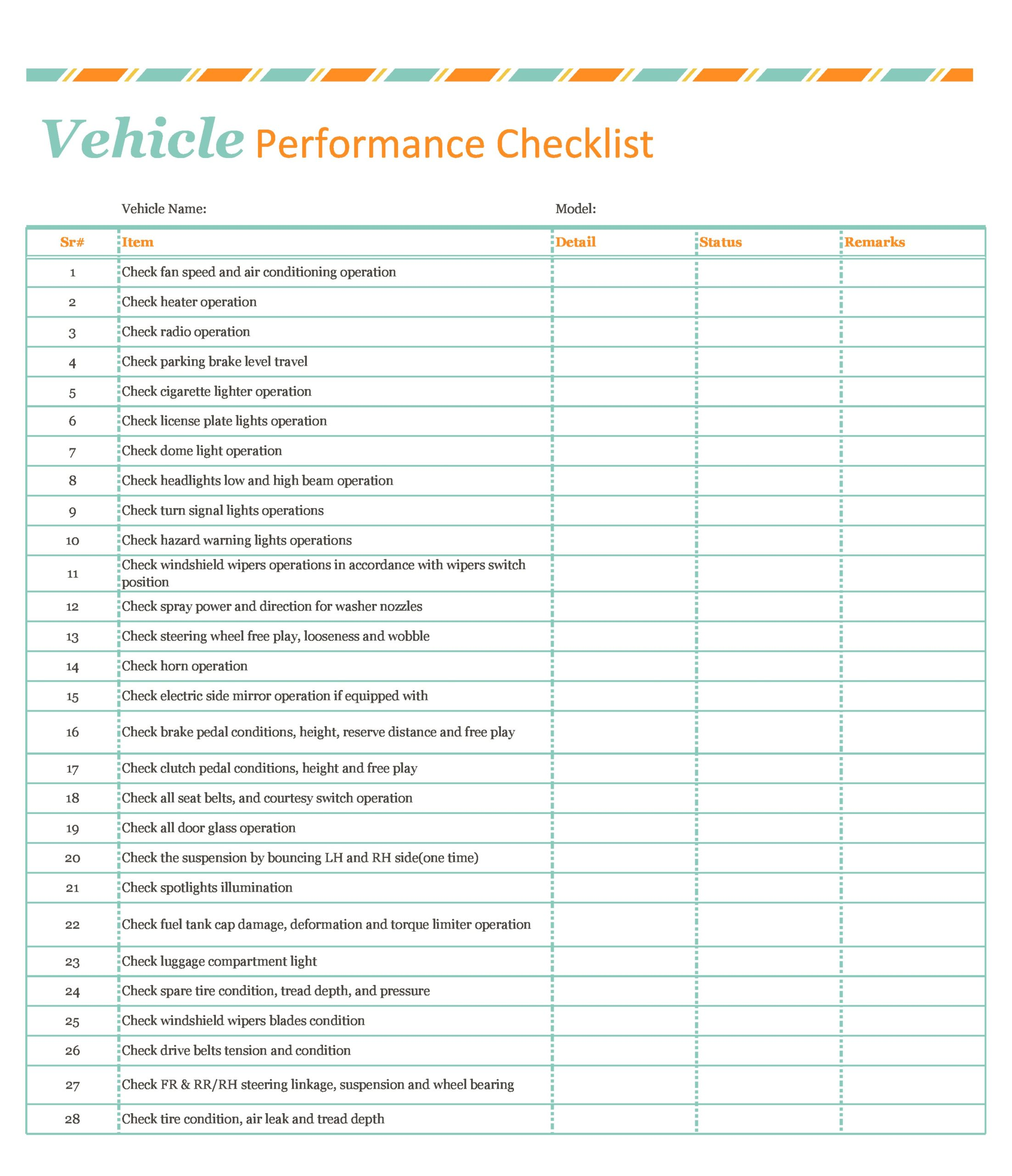 Free vehicle checklist 10