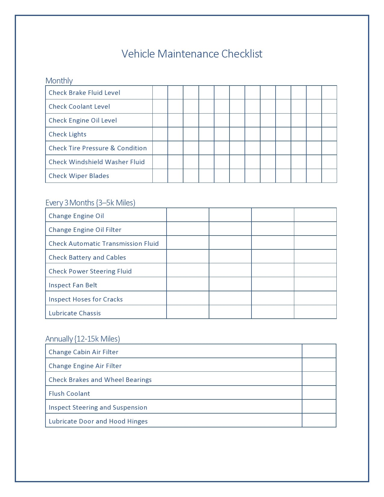 Free vehicle checklist 17