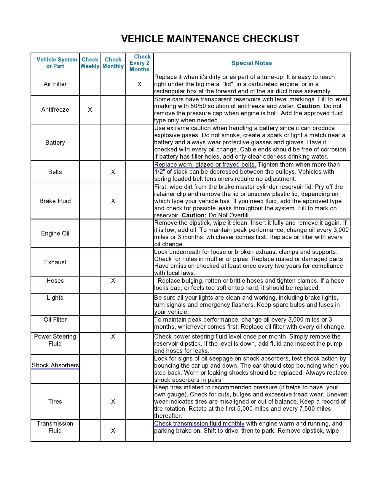 Free vehicle checklist 18