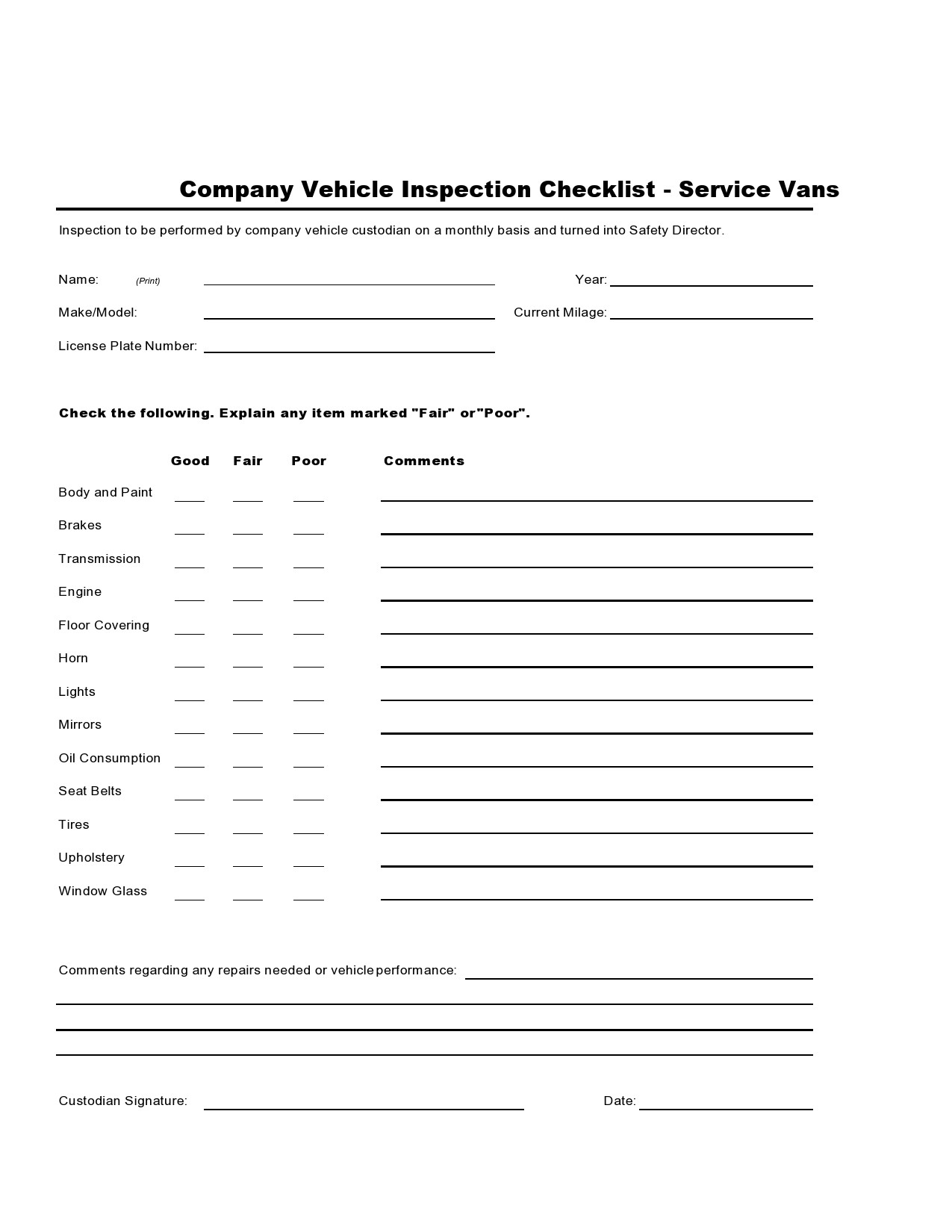 Free vehicle checklist 24