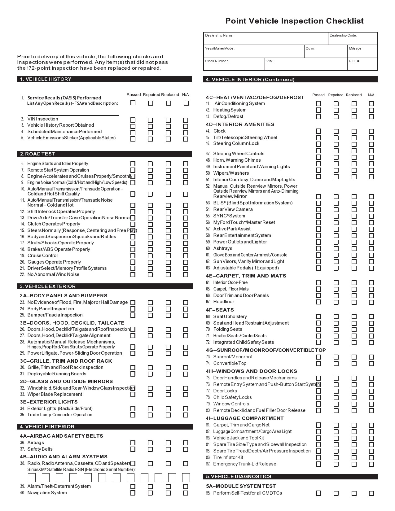 Free vehicle checklist 45