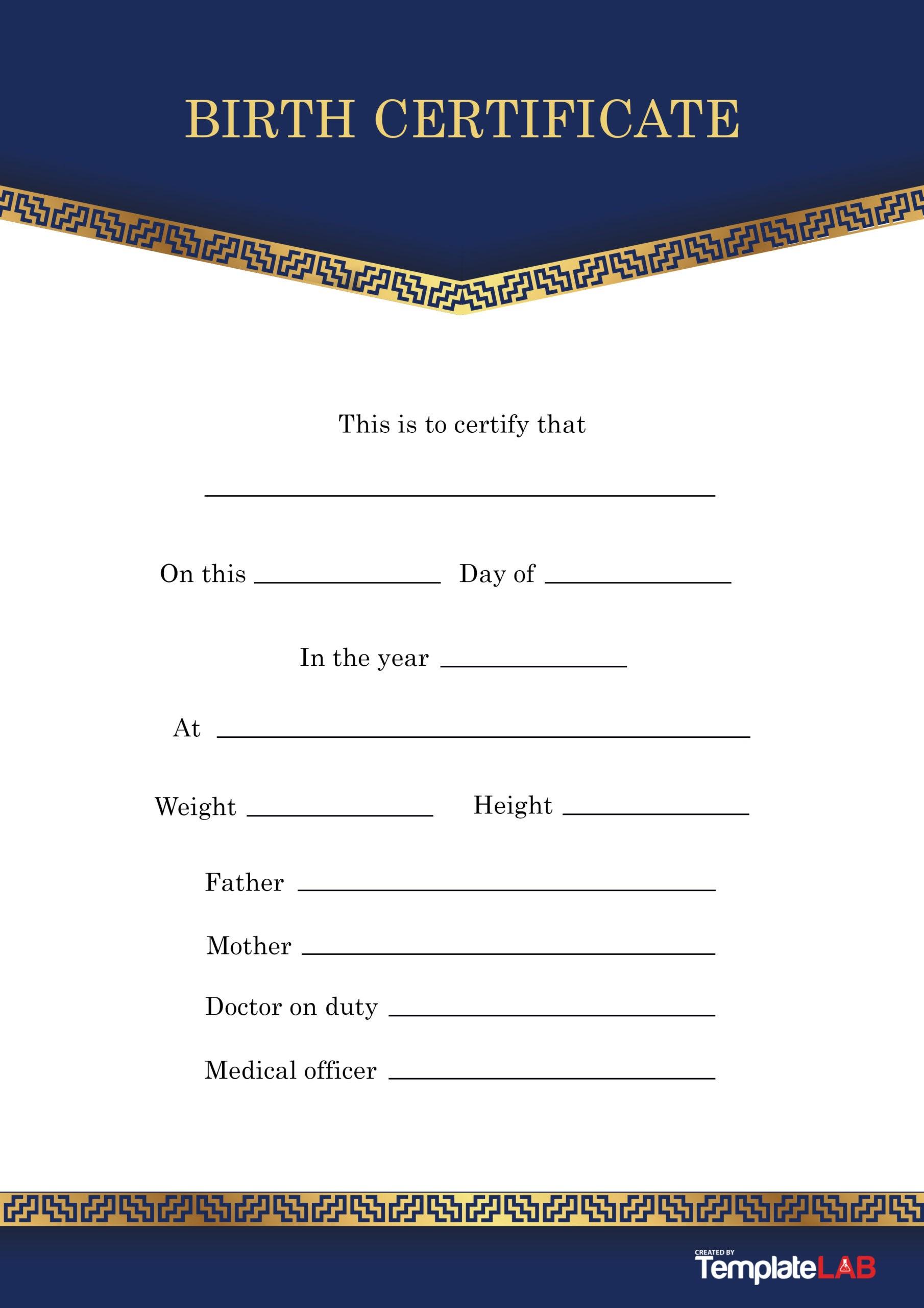 Free Birth Certificate Template 7