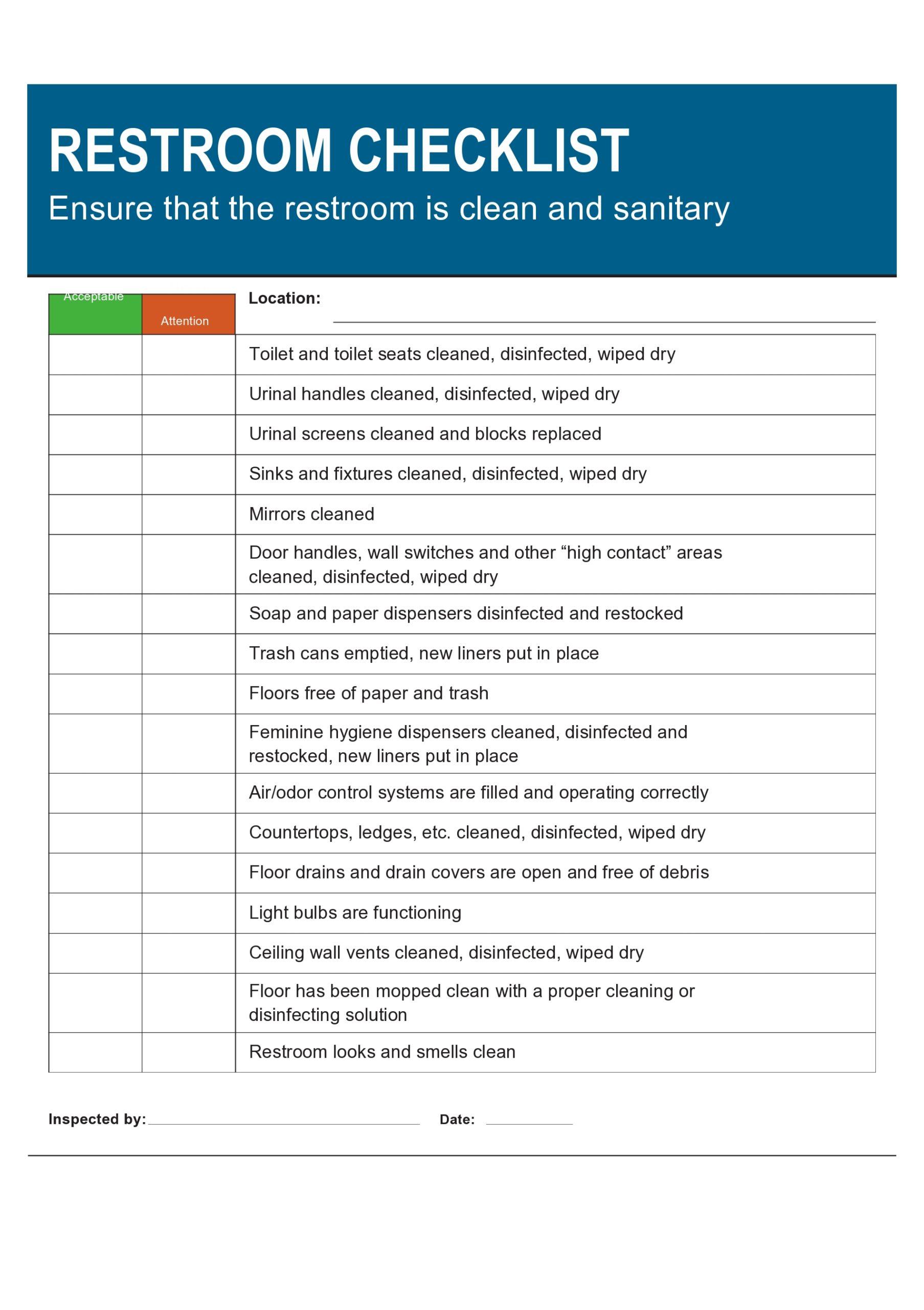 Free bathroom cleaning checklist 01