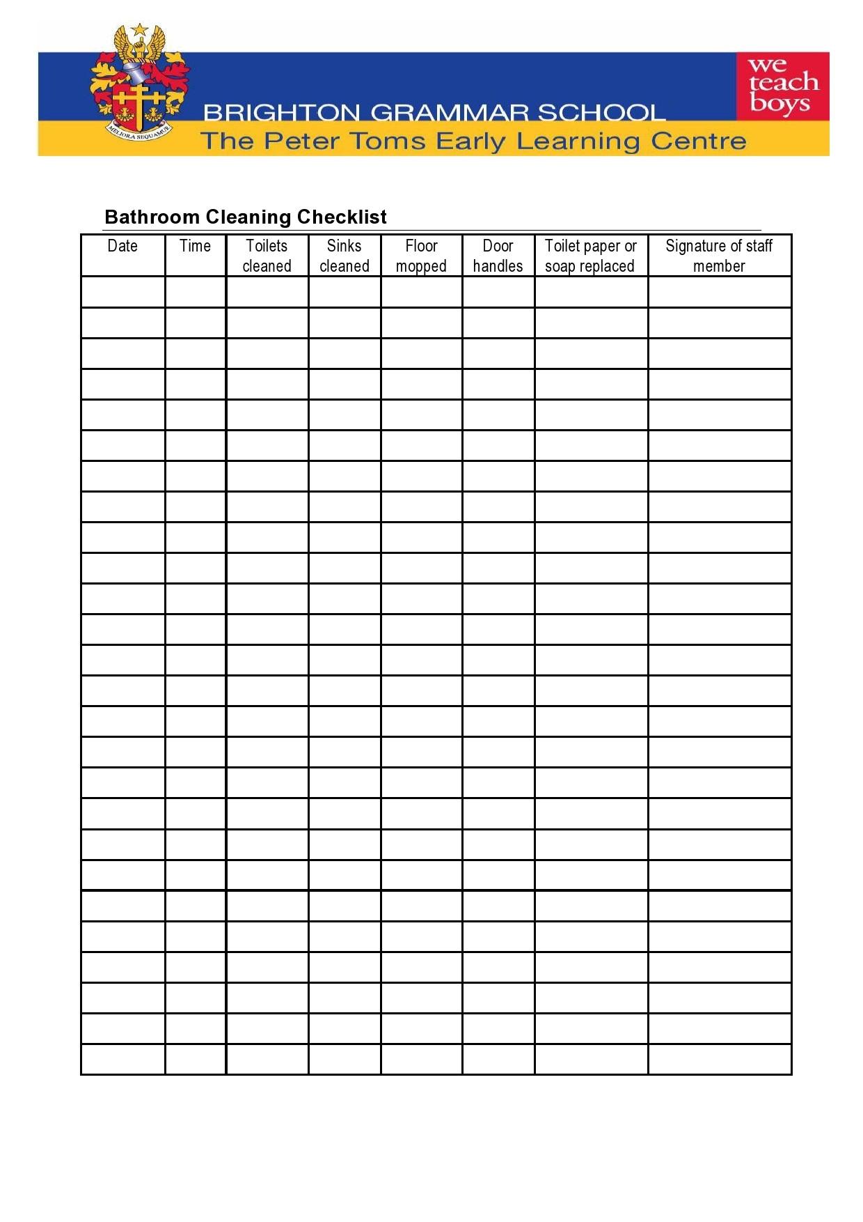 49 Printable Bathroom Cleaning Checklists Word ᐅ TemplateLab