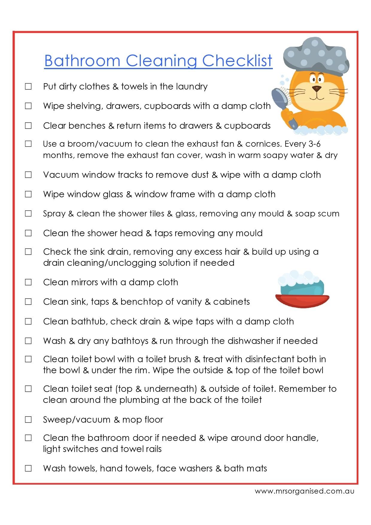 Free bathroom cleaning checklist 10