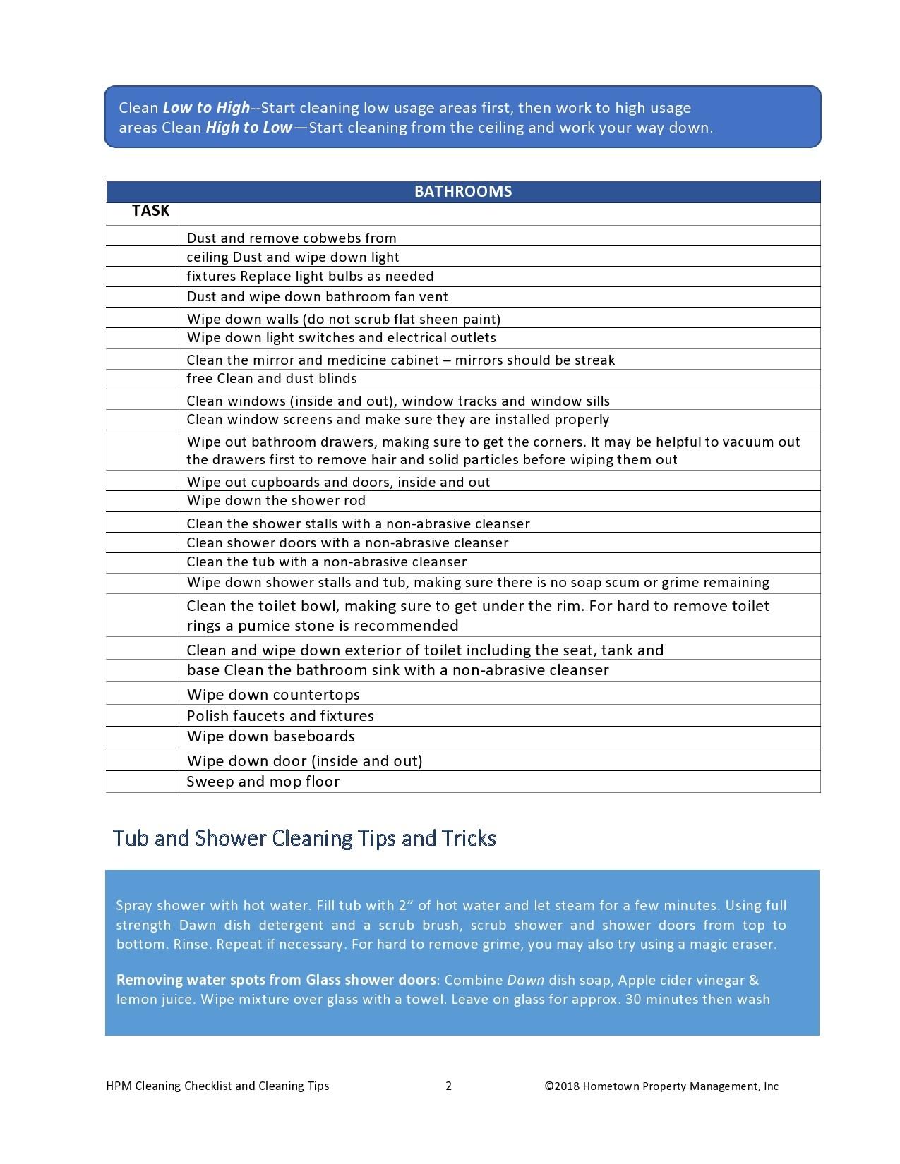 Free bathroom cleaning checklist 16