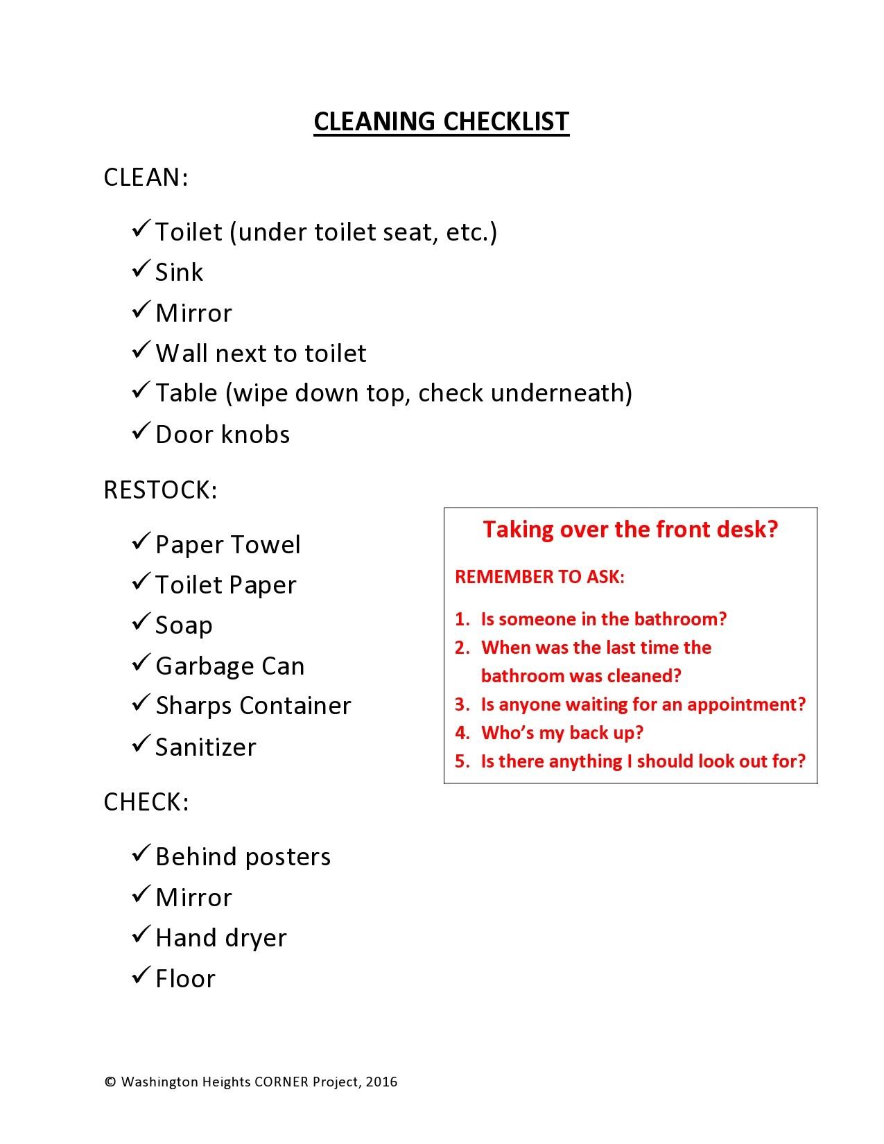 Free bathroom cleaning checklist 17