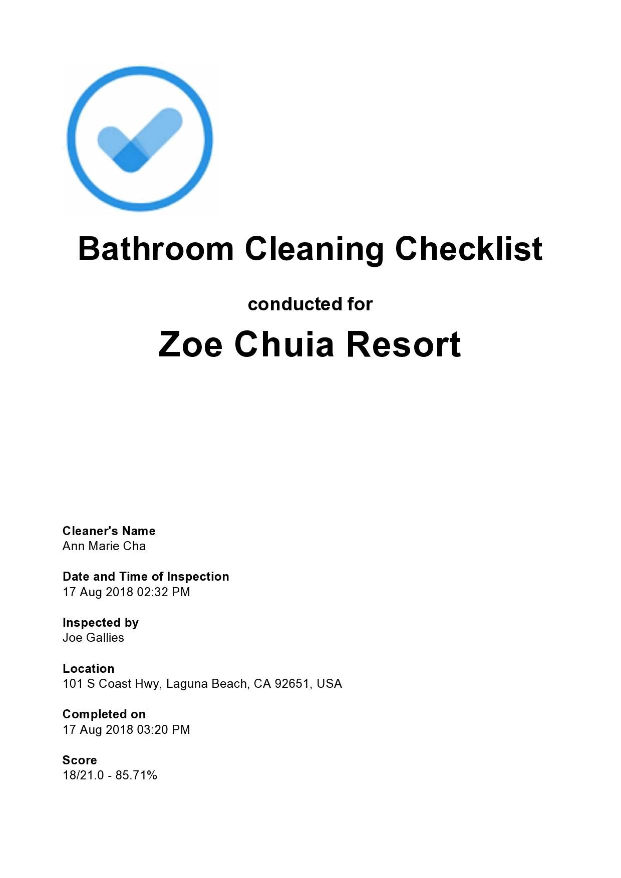 Free bathroom cleaning checklist 20