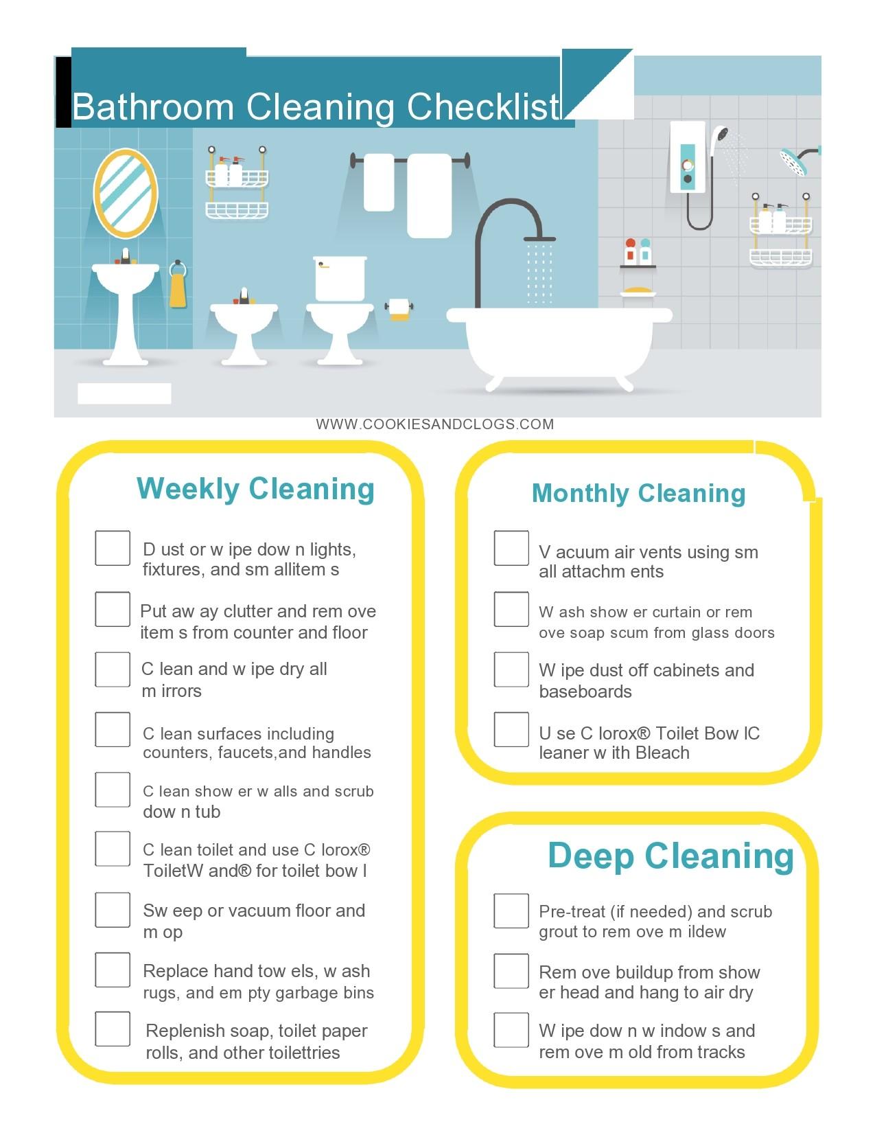 Free bathroom cleaning checklist 22