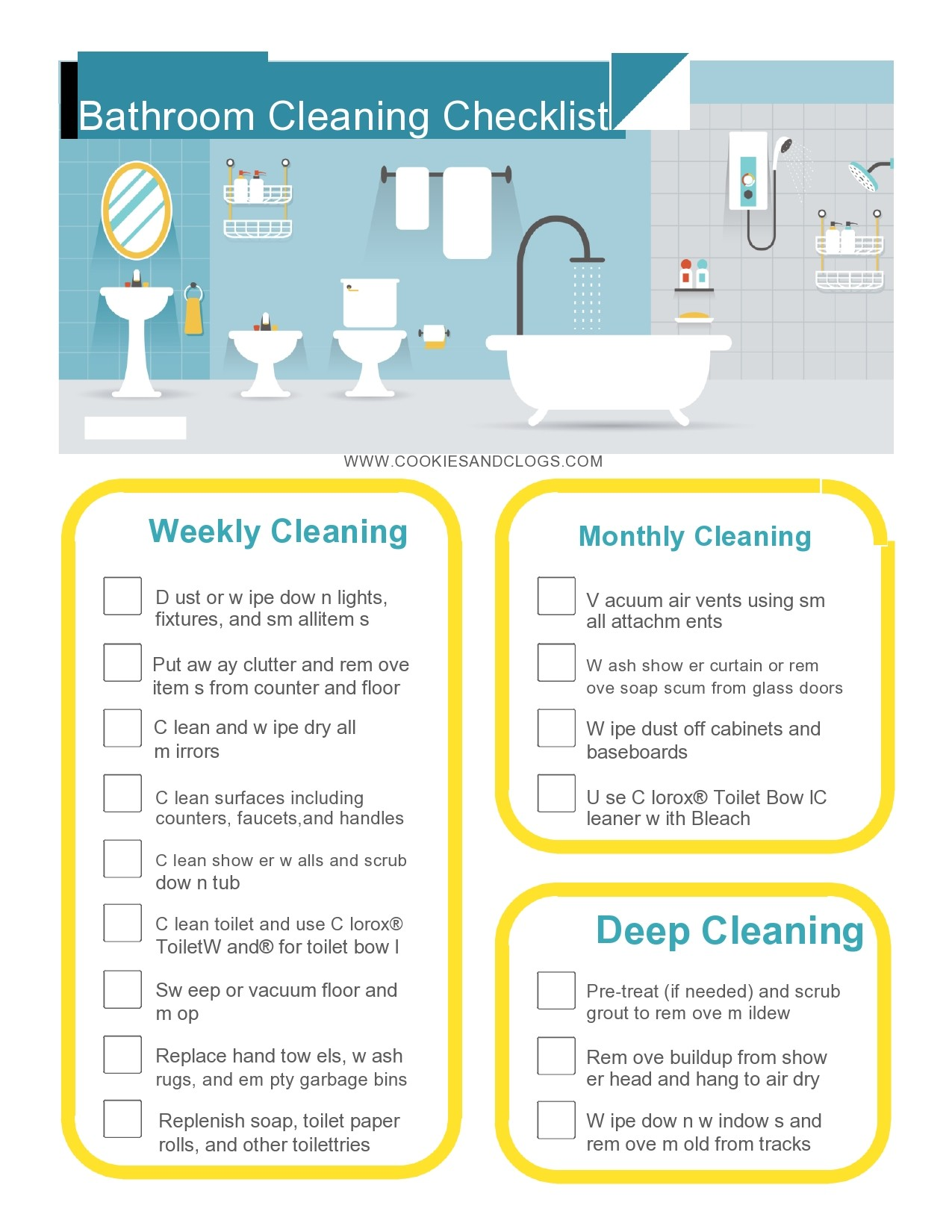 Bathroom Cleaning Checklists