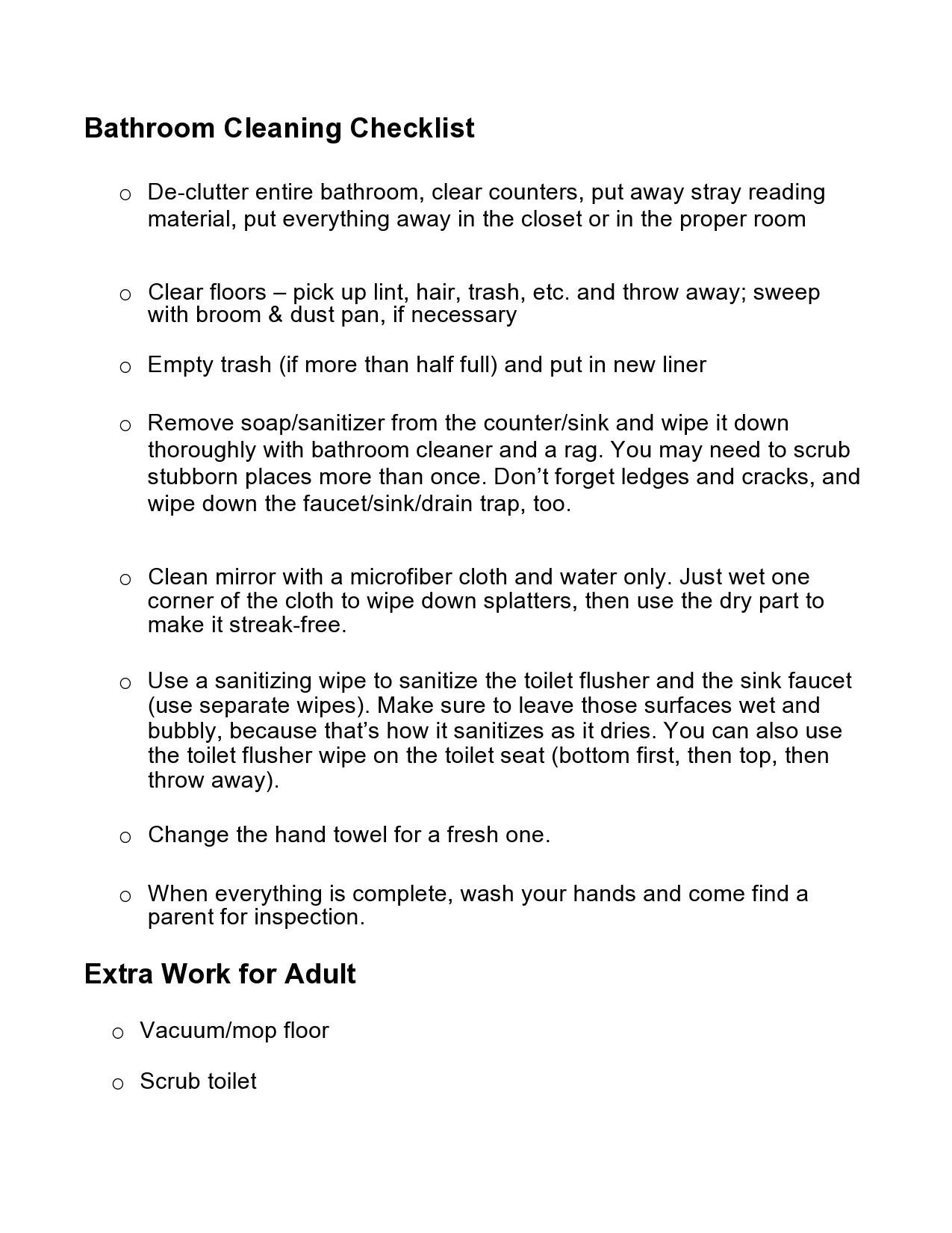 Free bathroom cleaning checklist 24