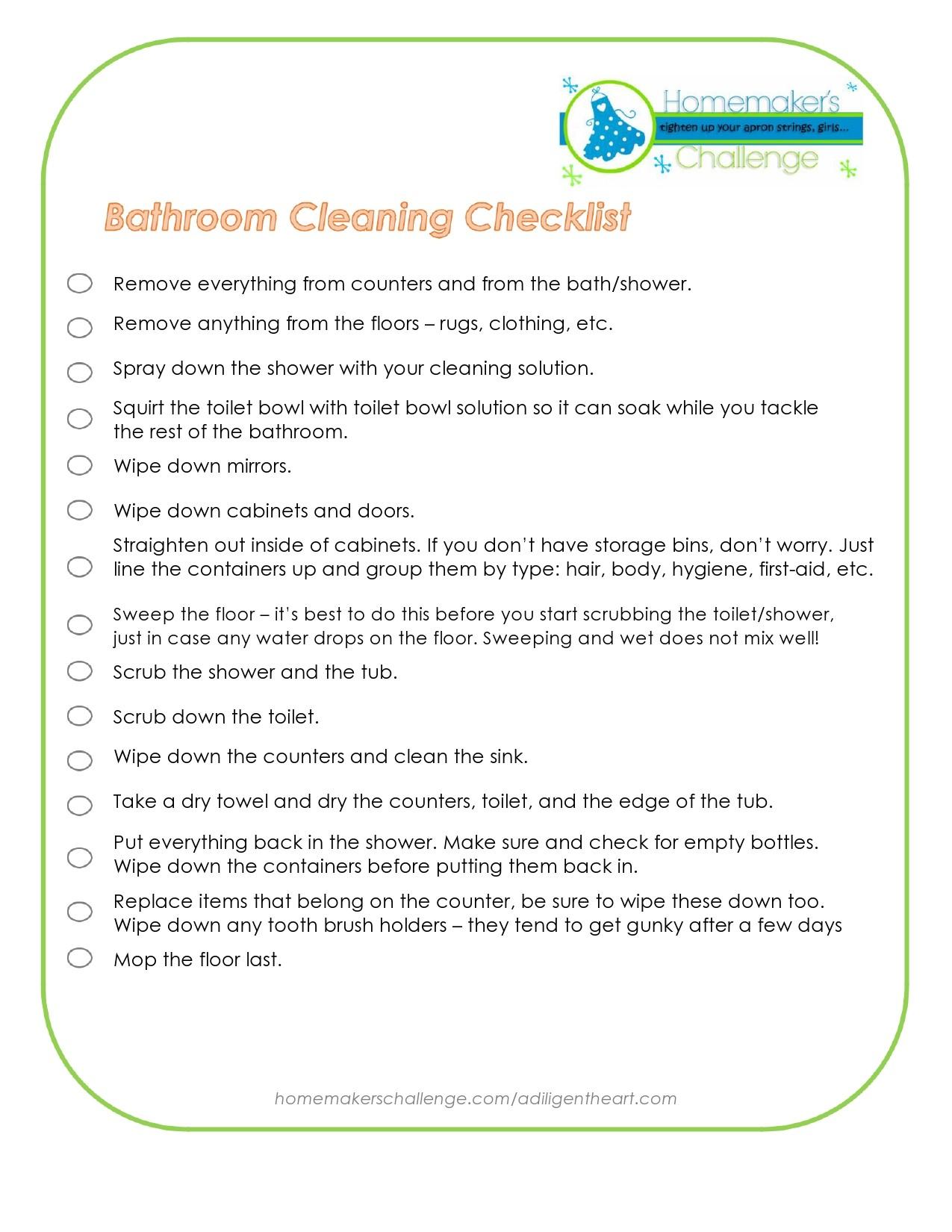 Free bathroom cleaning checklist 29