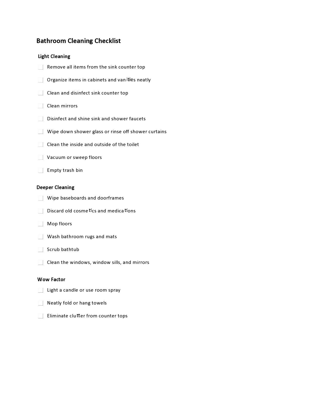 Free bathroom cleaning checklist 30
