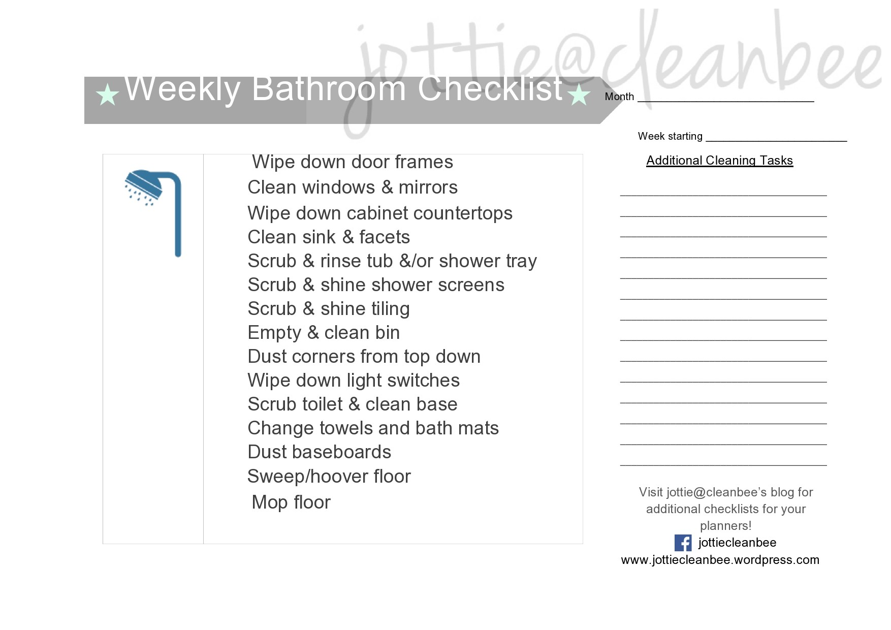 Free bathroom cleaning checklist 36