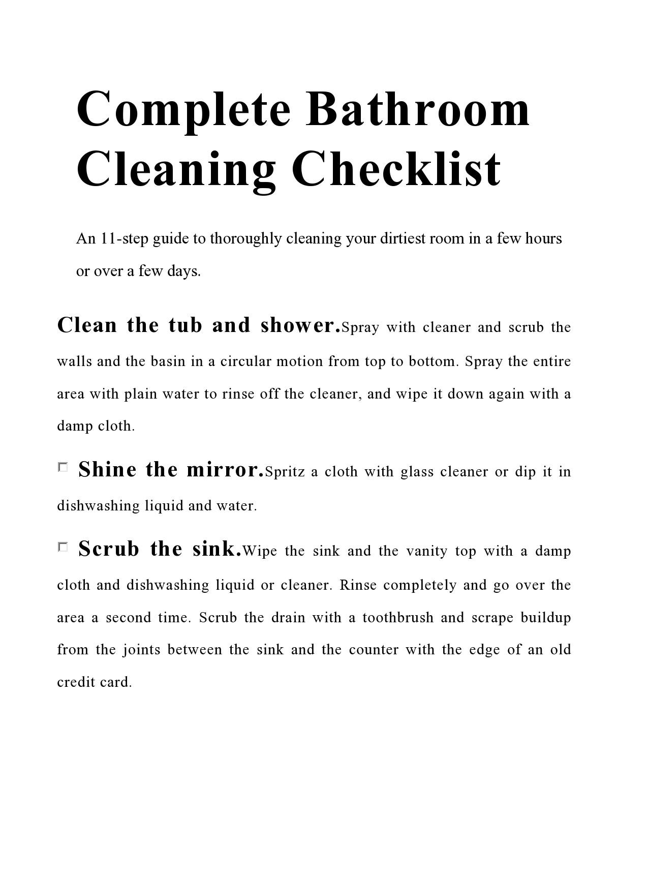 Free bathroom cleaning checklist 40