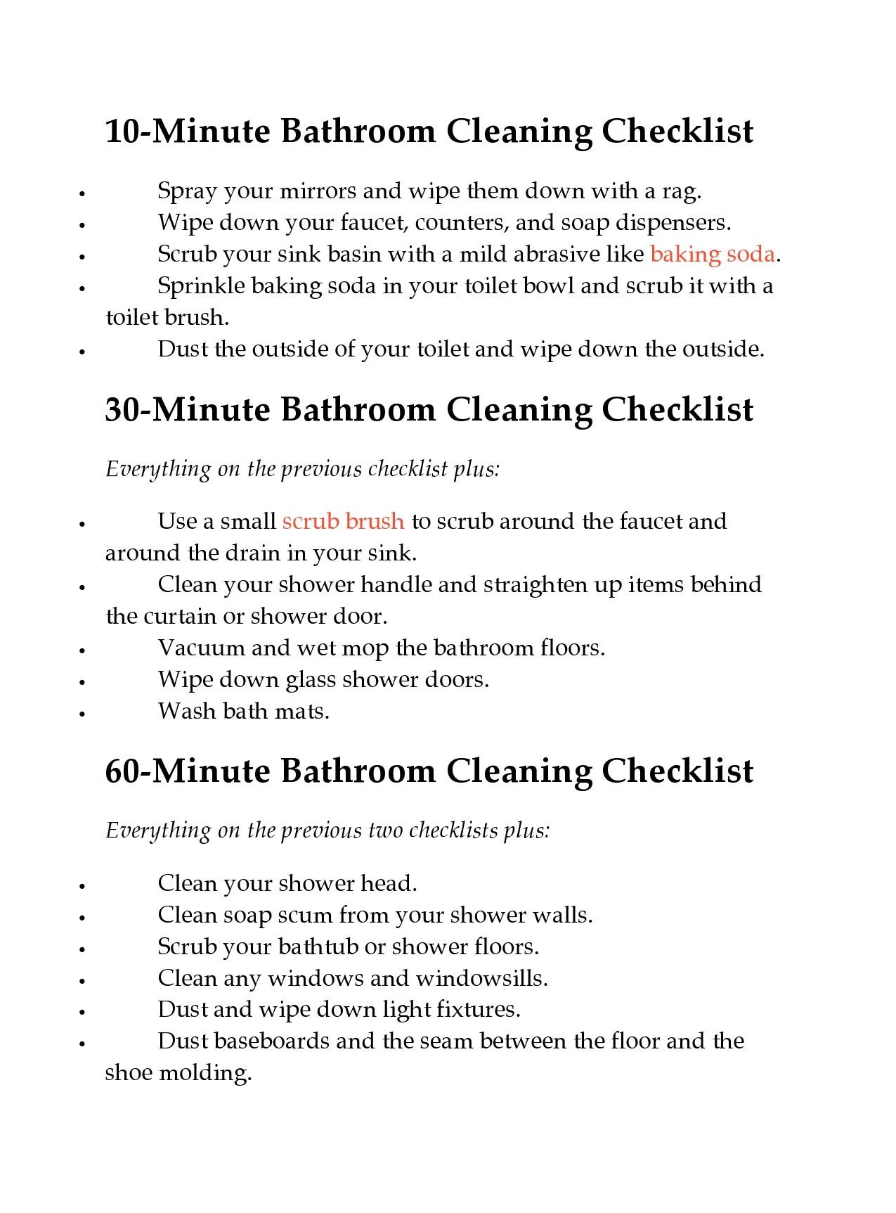 Free bathroom cleaning checklist 42