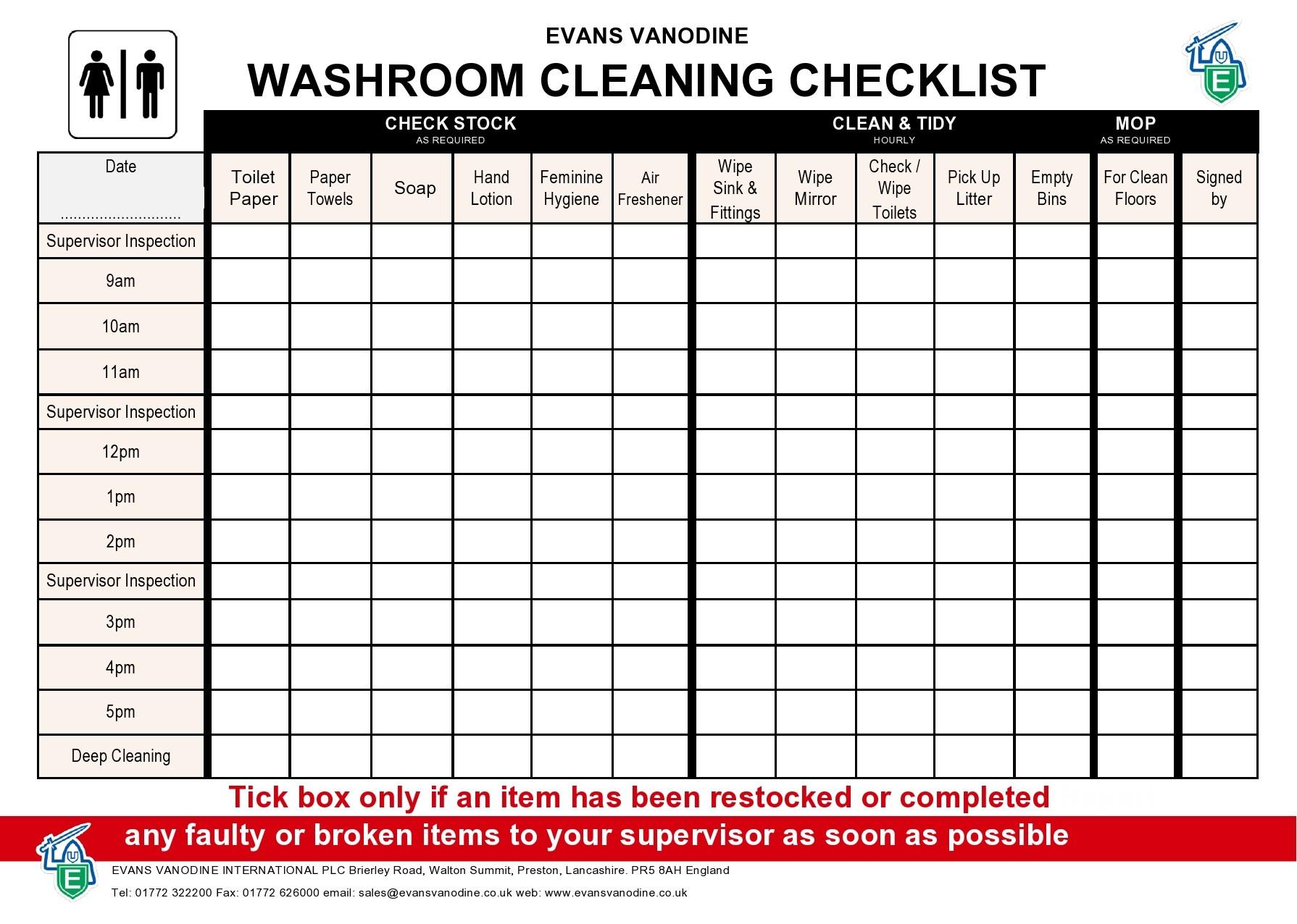Free bathroom cleaning checklist 44