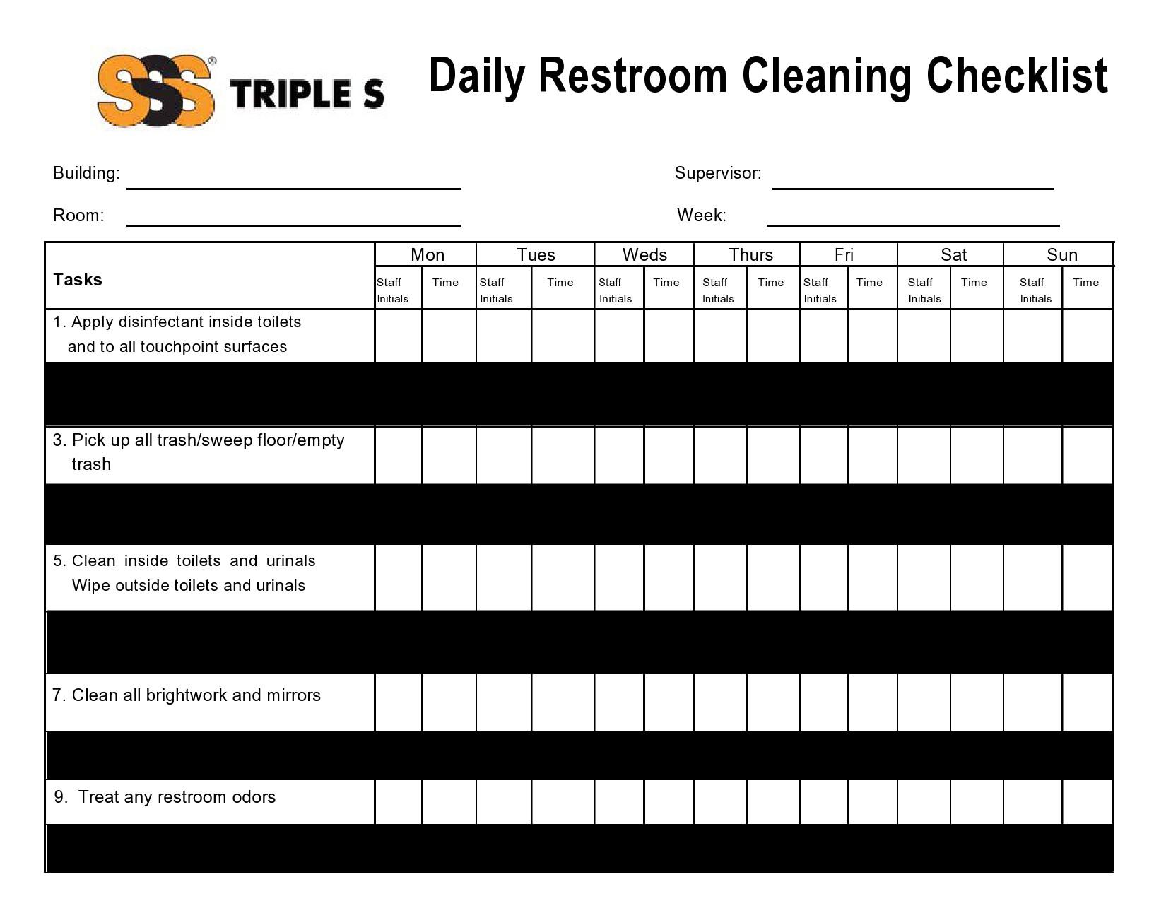 Free bathroom cleaning checklist 49