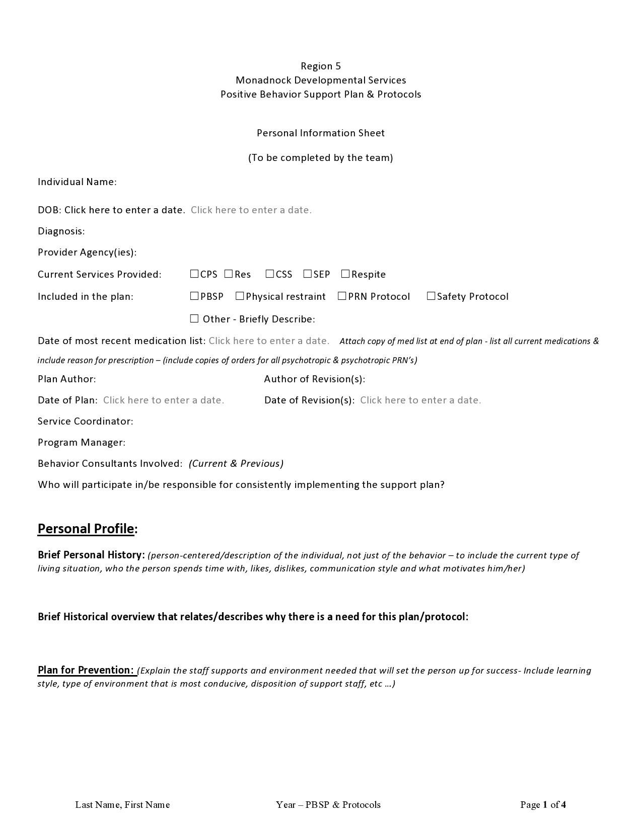 Free behavior plan template 04