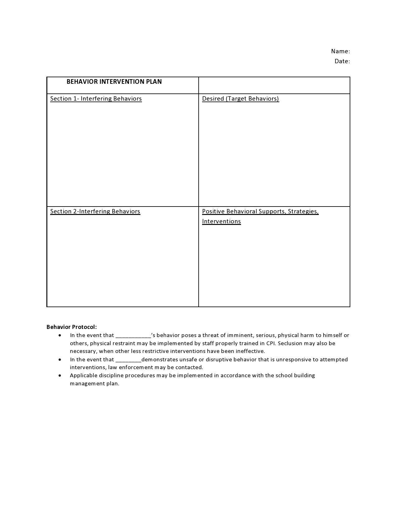 Free behavior plan template 05
