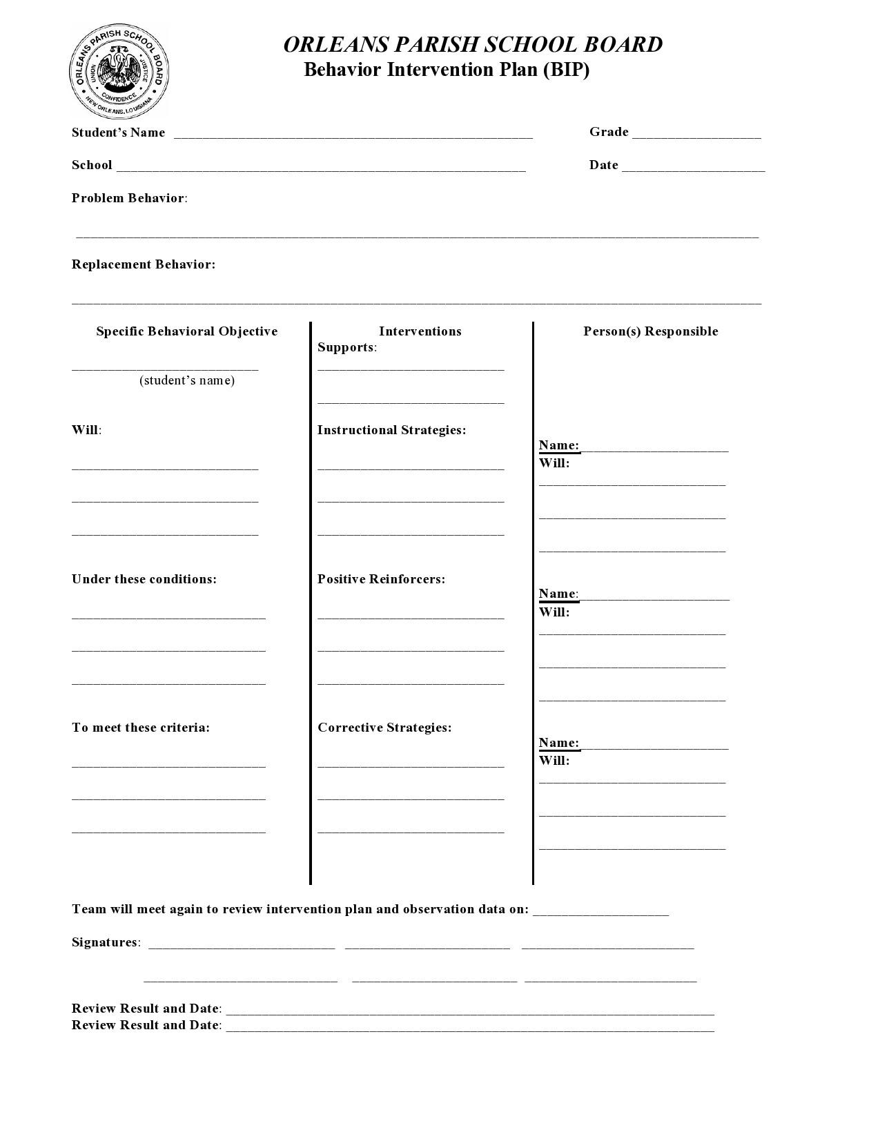Free behavior plan template 08
