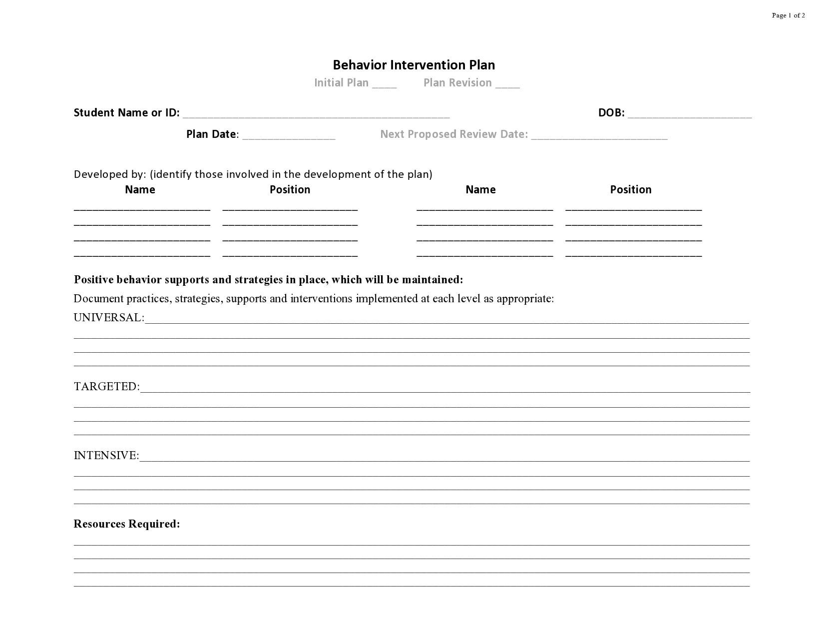 Free behavior plan template 10