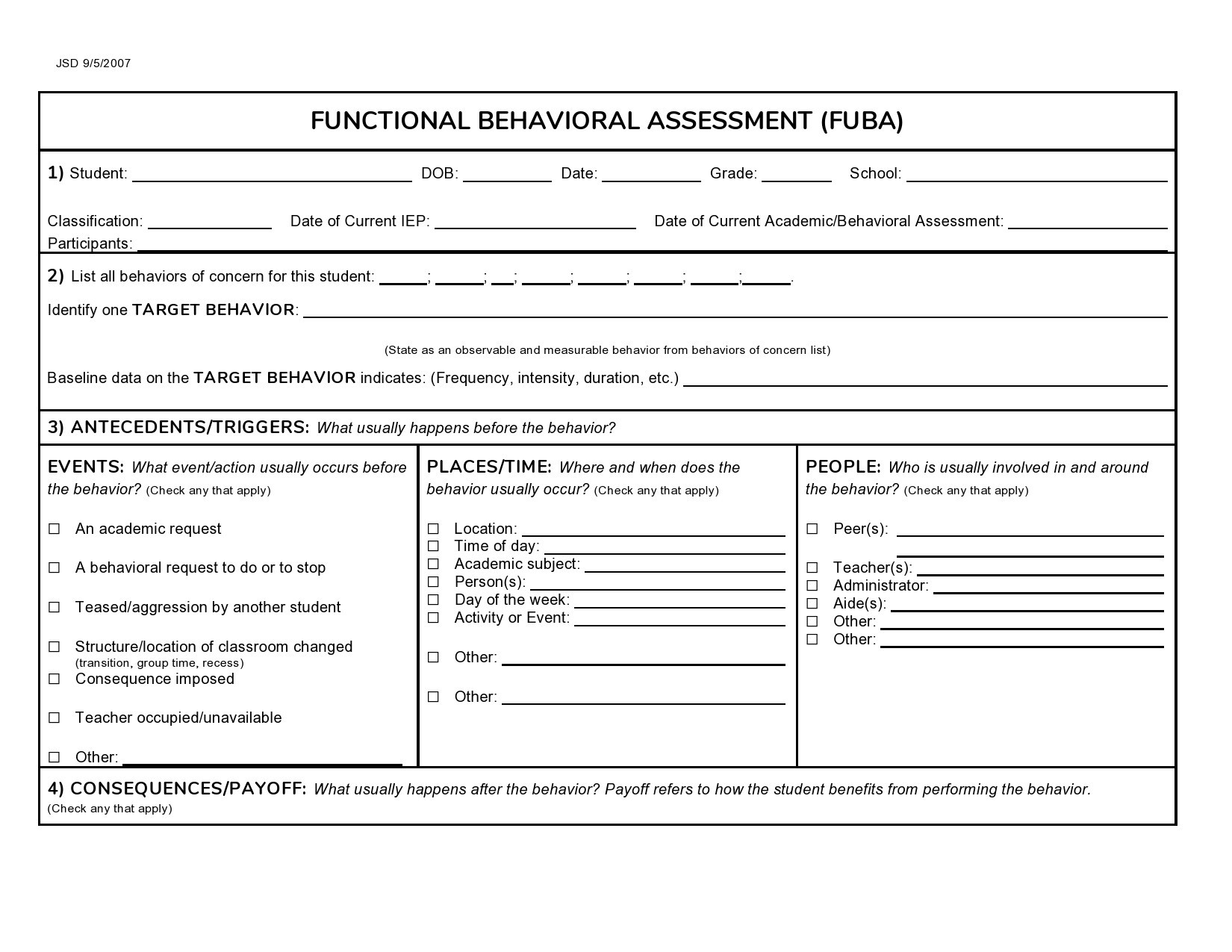 Free behavior plan template 11