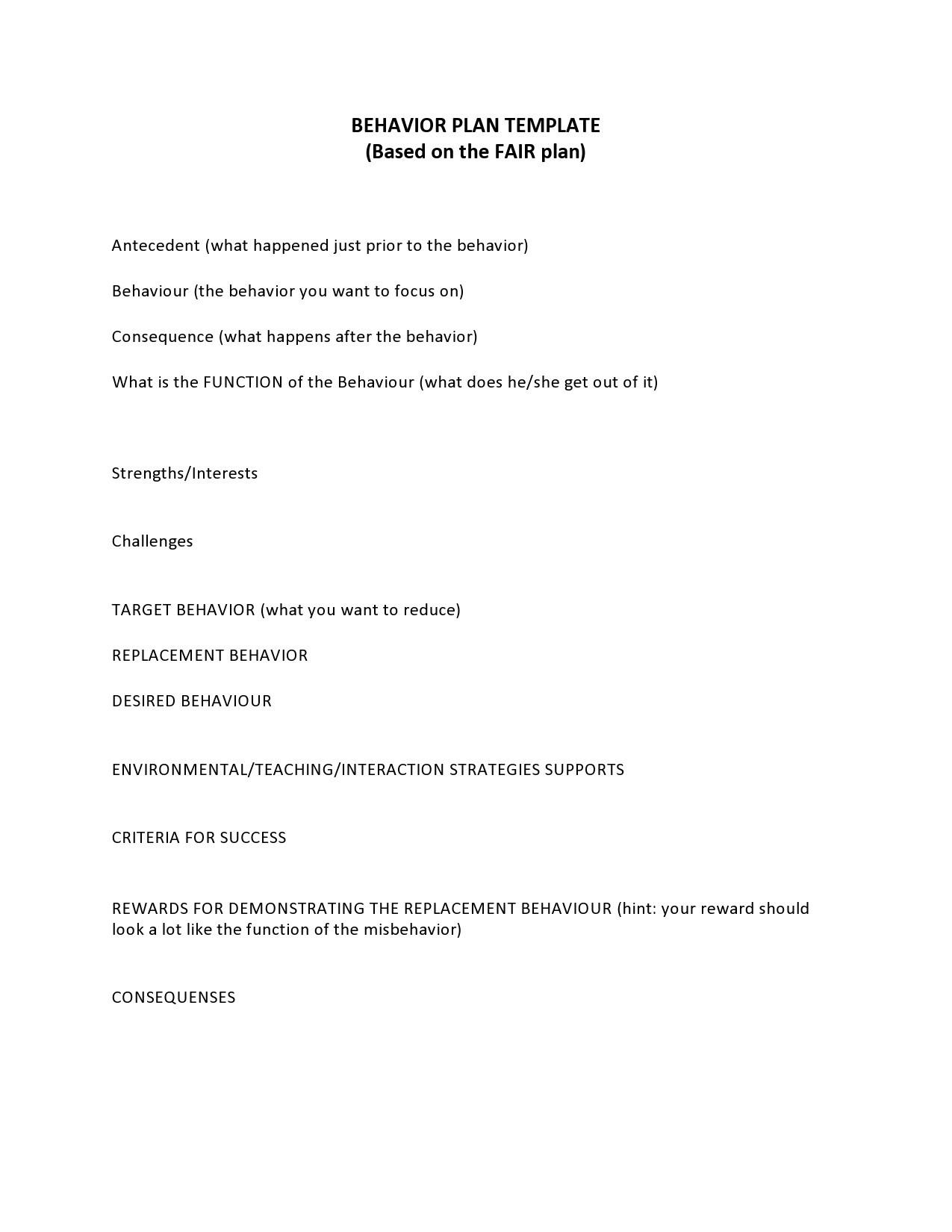 Free behavior plan template 13