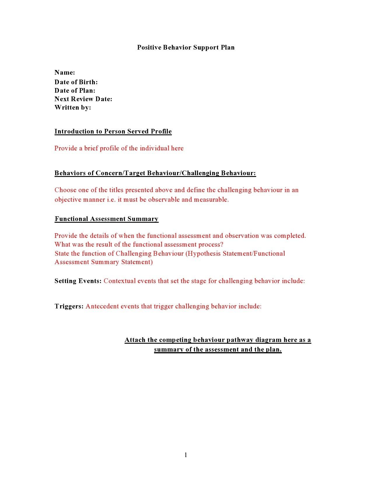 Free behavior plan template 23
