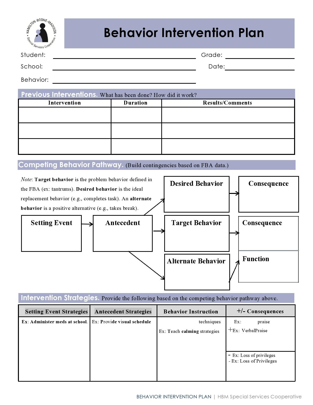 Free behavior plan template 27
