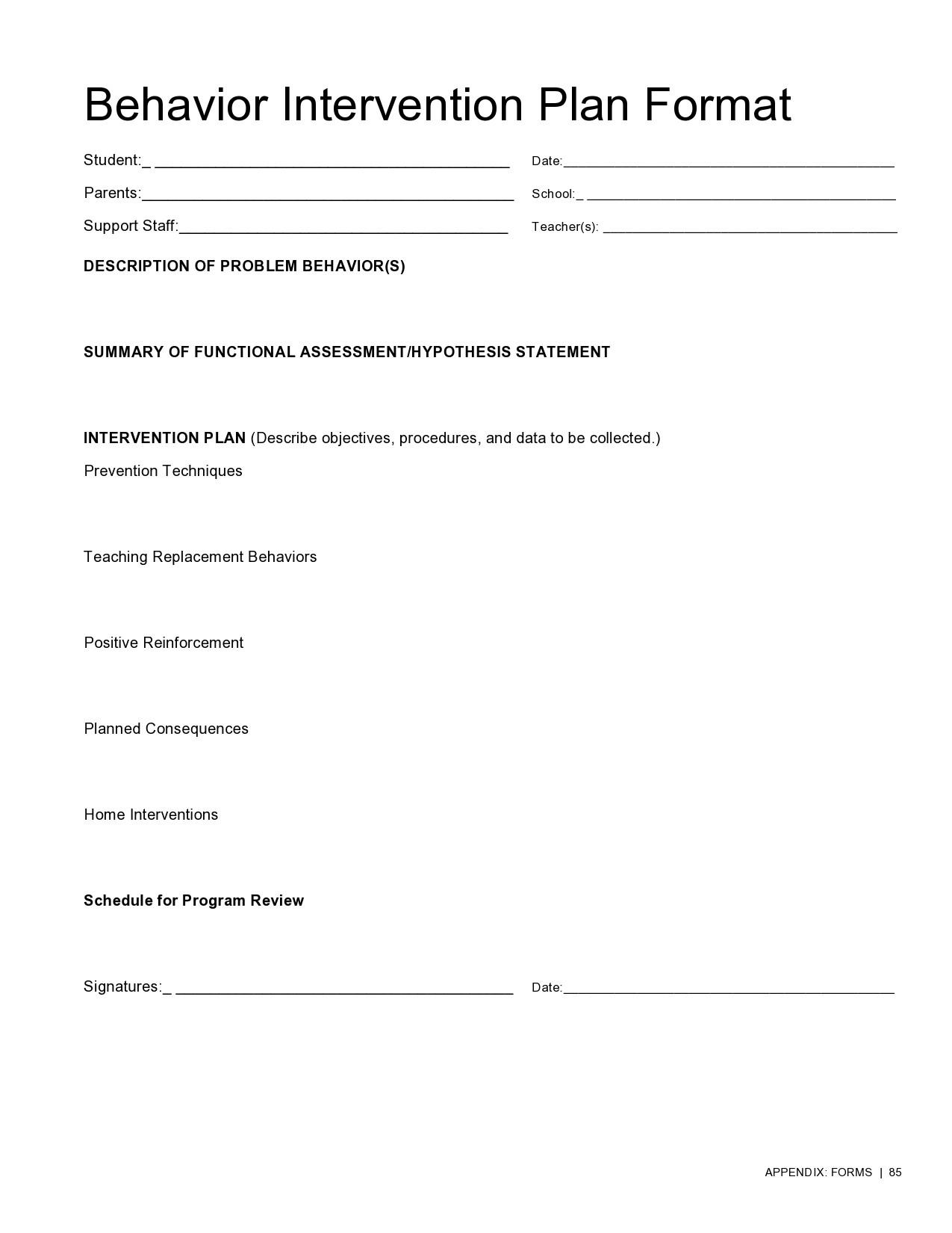 Free behavior plan template 32